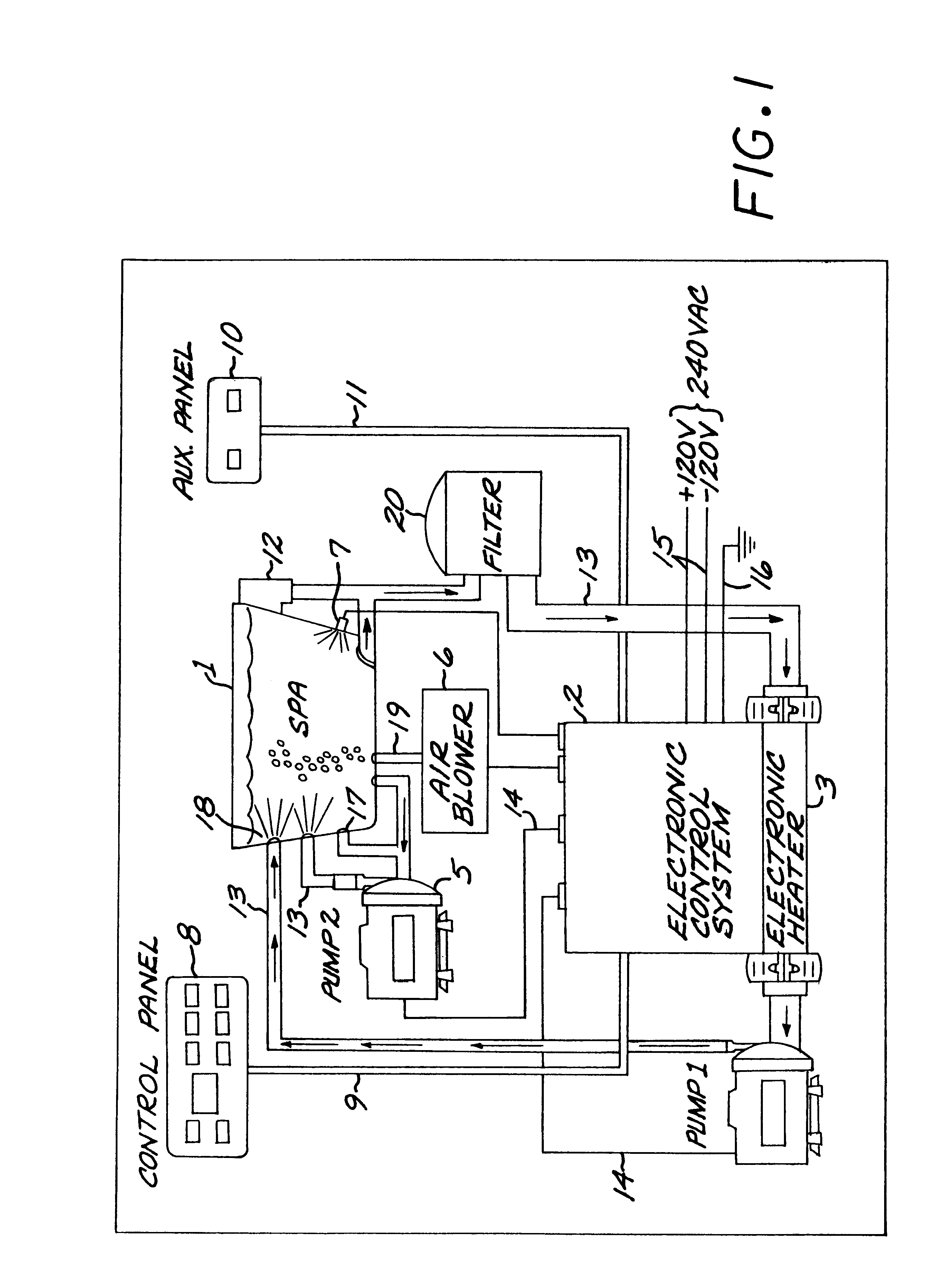 US06253121 20010626 D00001 patent us6253121 control system for bathers with ground thermospa wiring diagram at crackthecode.co