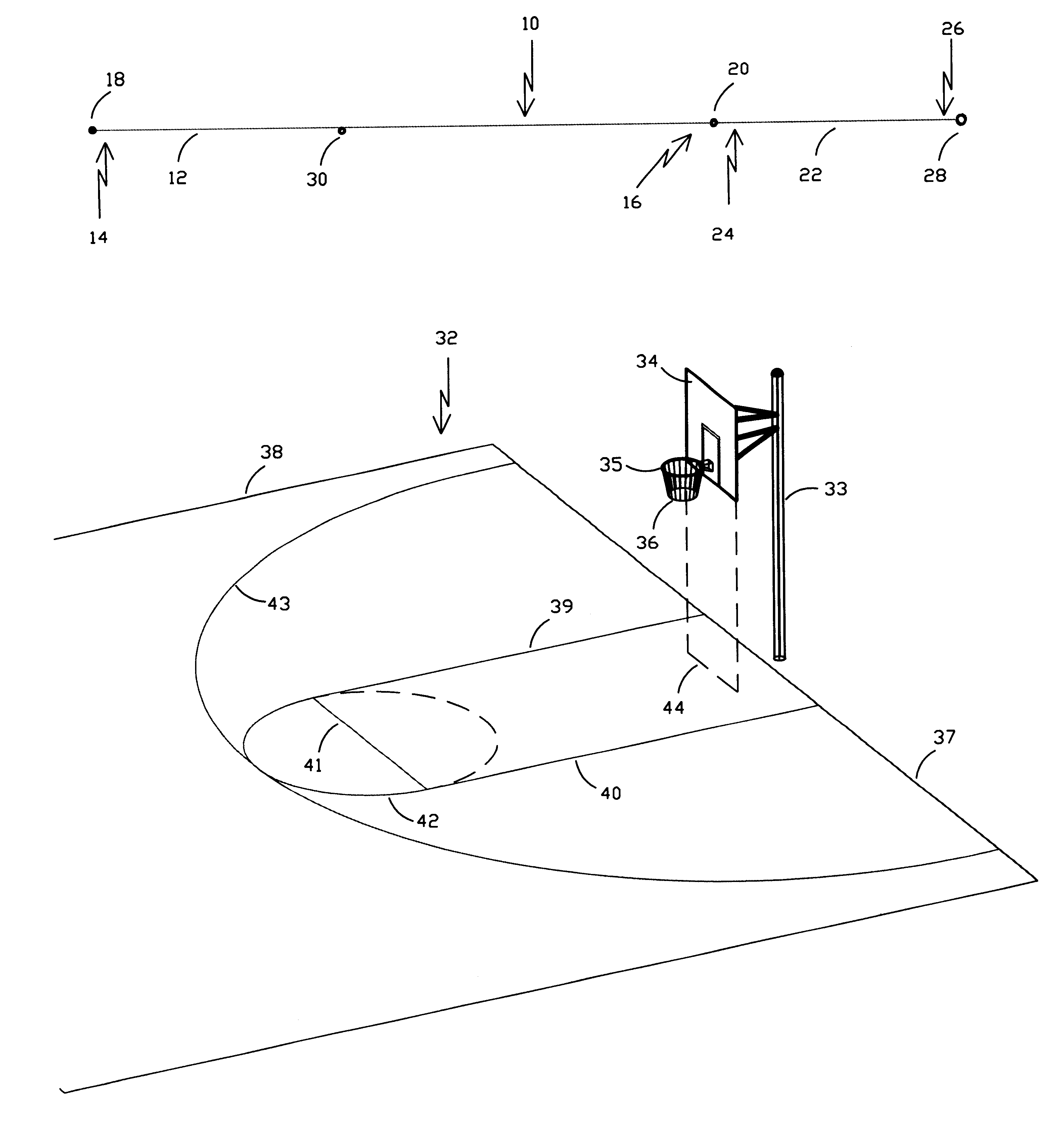 Patent us6253456 basketball court layout device and for Basketball layout dimensions