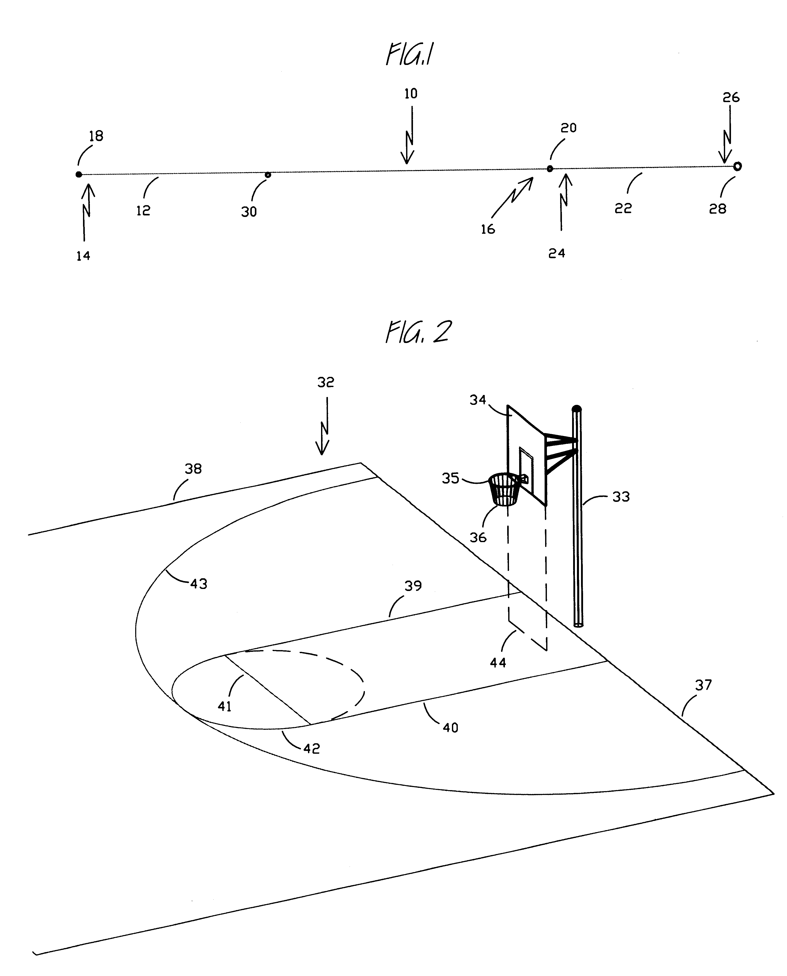 Patent Us6253456 Basketball Court Layout Device And