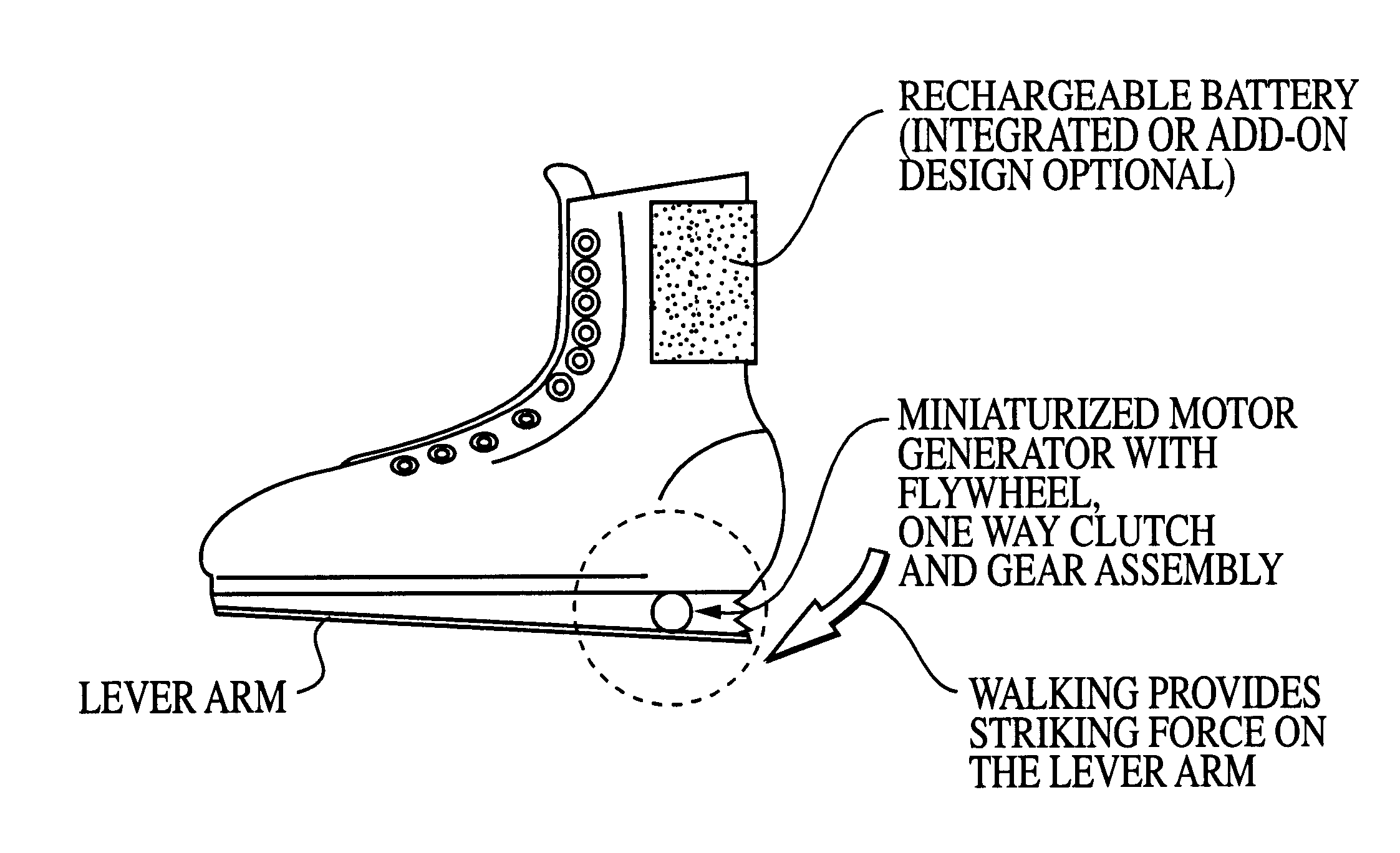 patent us6255799 - rechargeable shoe