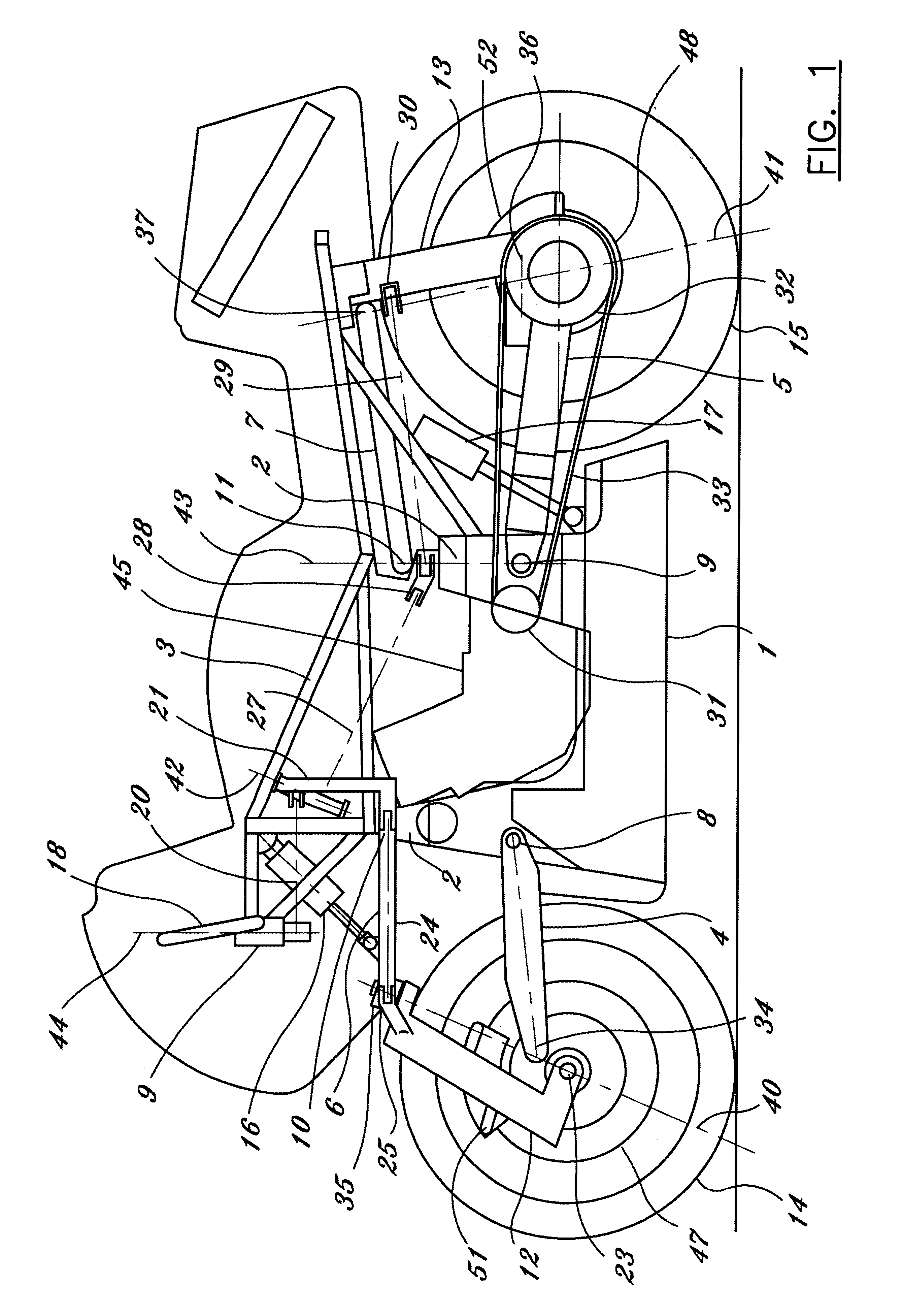 patent us6263994 advanced motorcycle chassis steering and