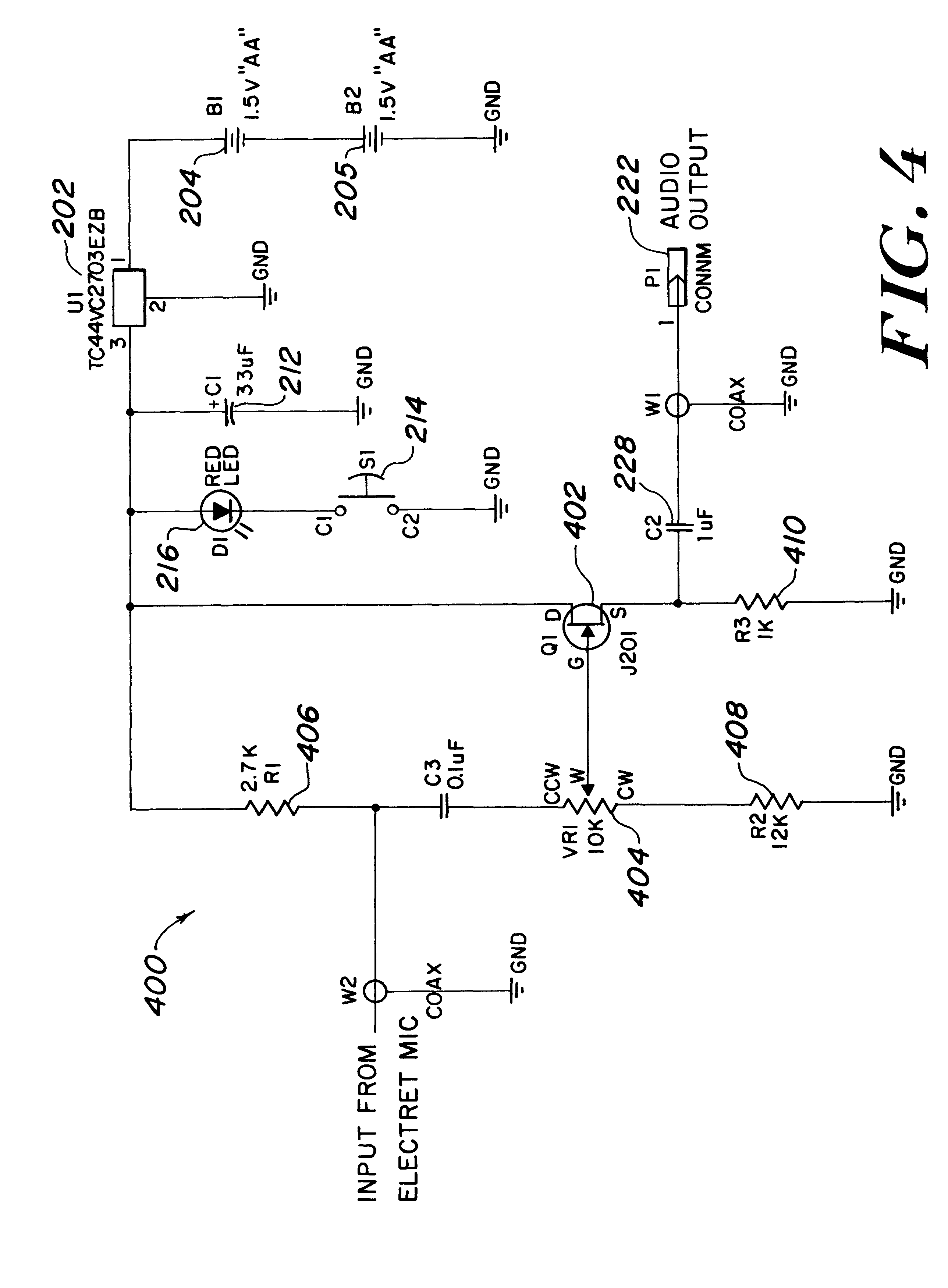patent us6266424 - electret microphone circuit with low battery disable