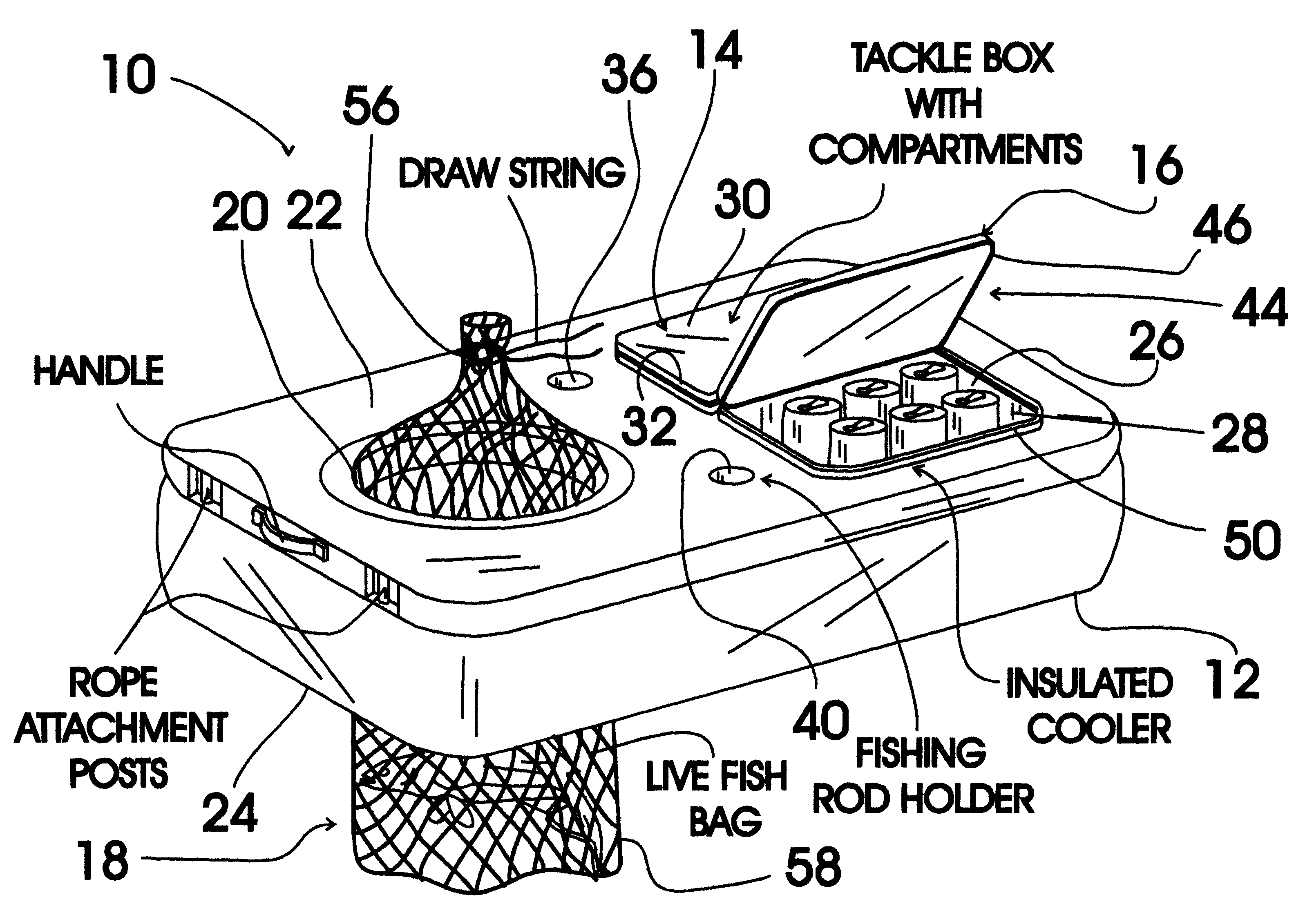 Patent us6269587 surf fishing caddy google patents for Wade fishing caddy