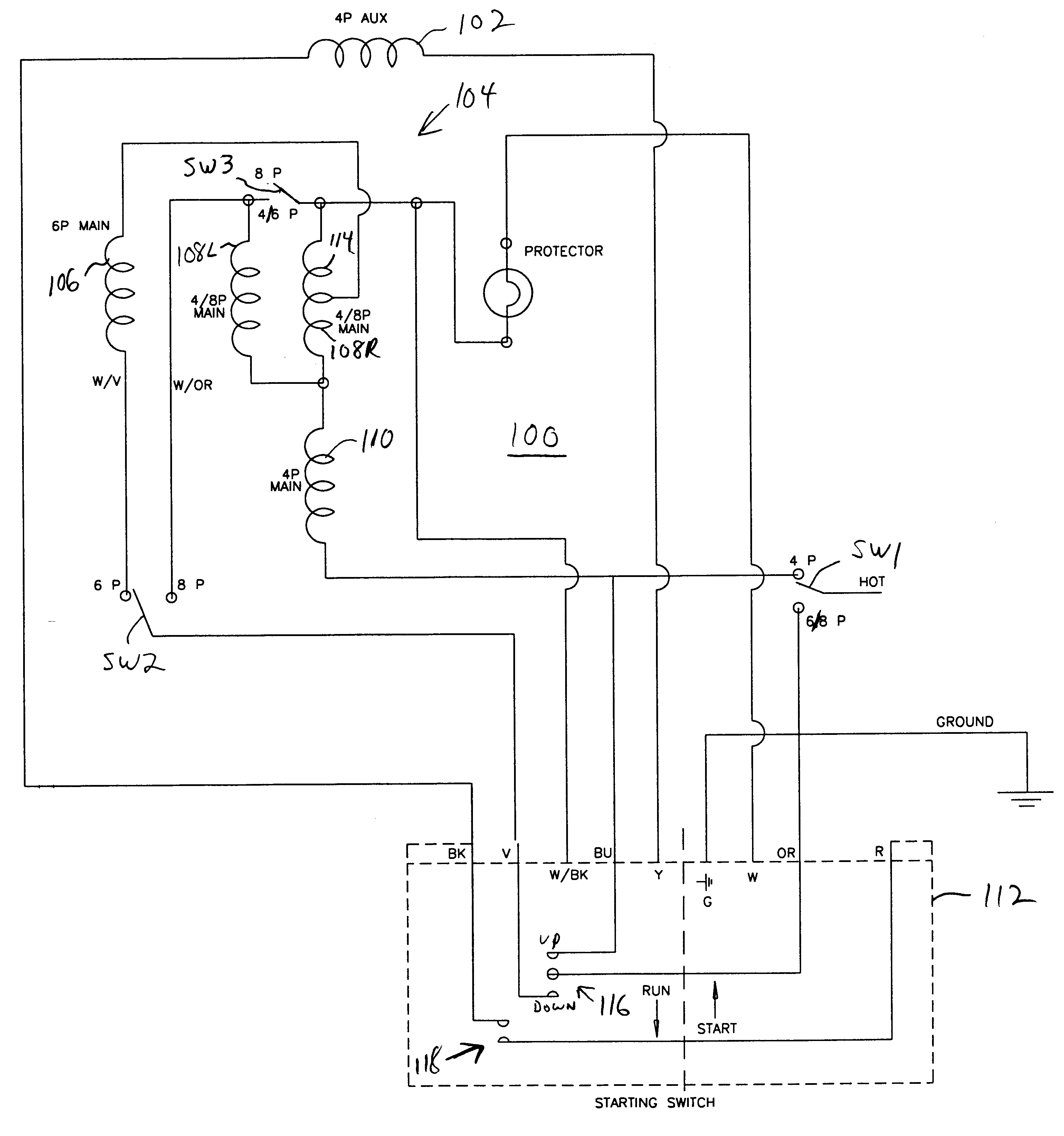 US06271639 20010807 D00000 patent us6271639 capacitor start single phase induction motor ao smith electric motor wiring diagram at suagrazia.org