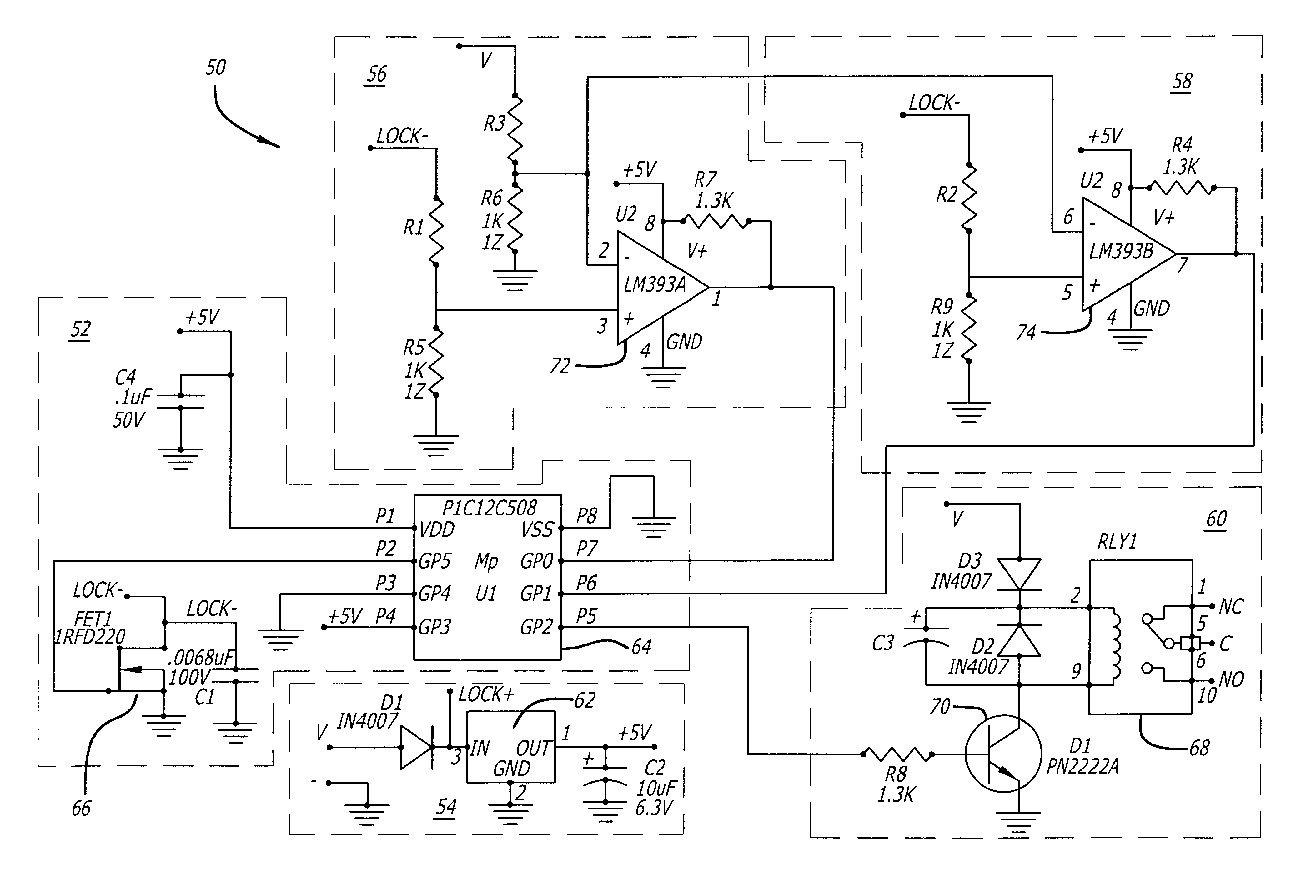 patent us magnetic lock and status detection system and patent drawing