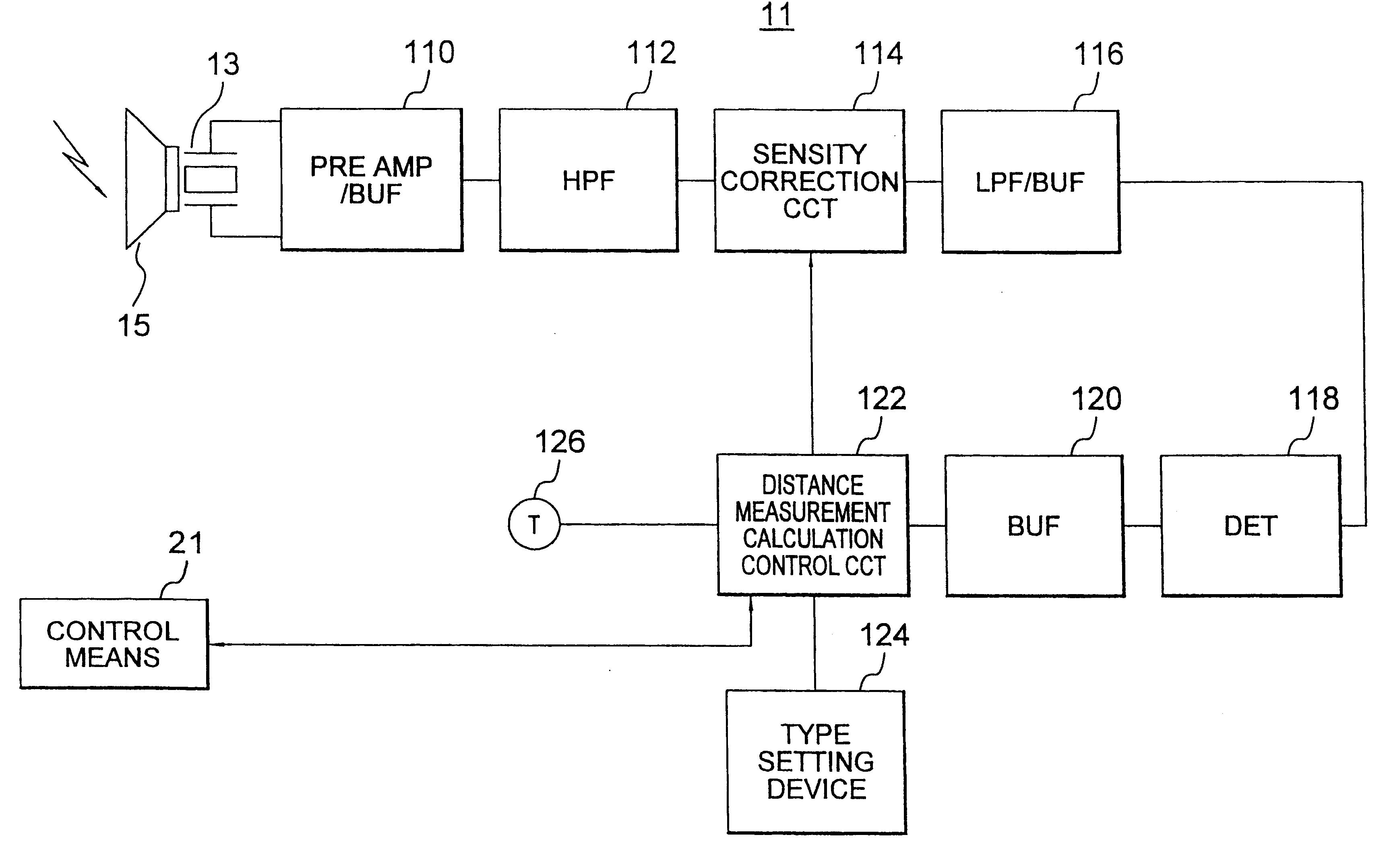 Patent Us6279396 Ultrasonic Wave Distance Measuring Method And Sensor Circuit Drawing