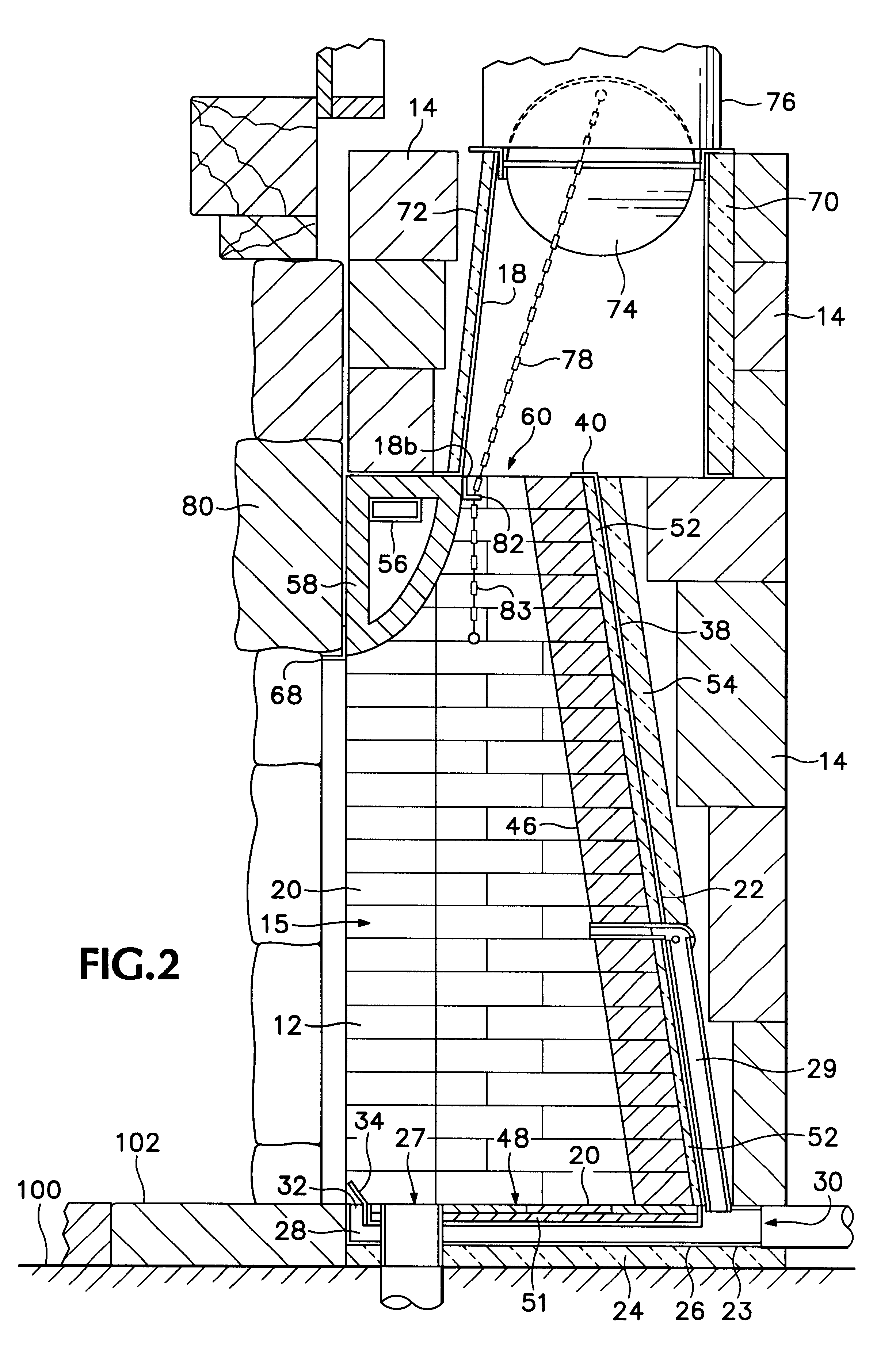 Patent us6286502 fireplace assembly google patents for Fireplace dimensions plan