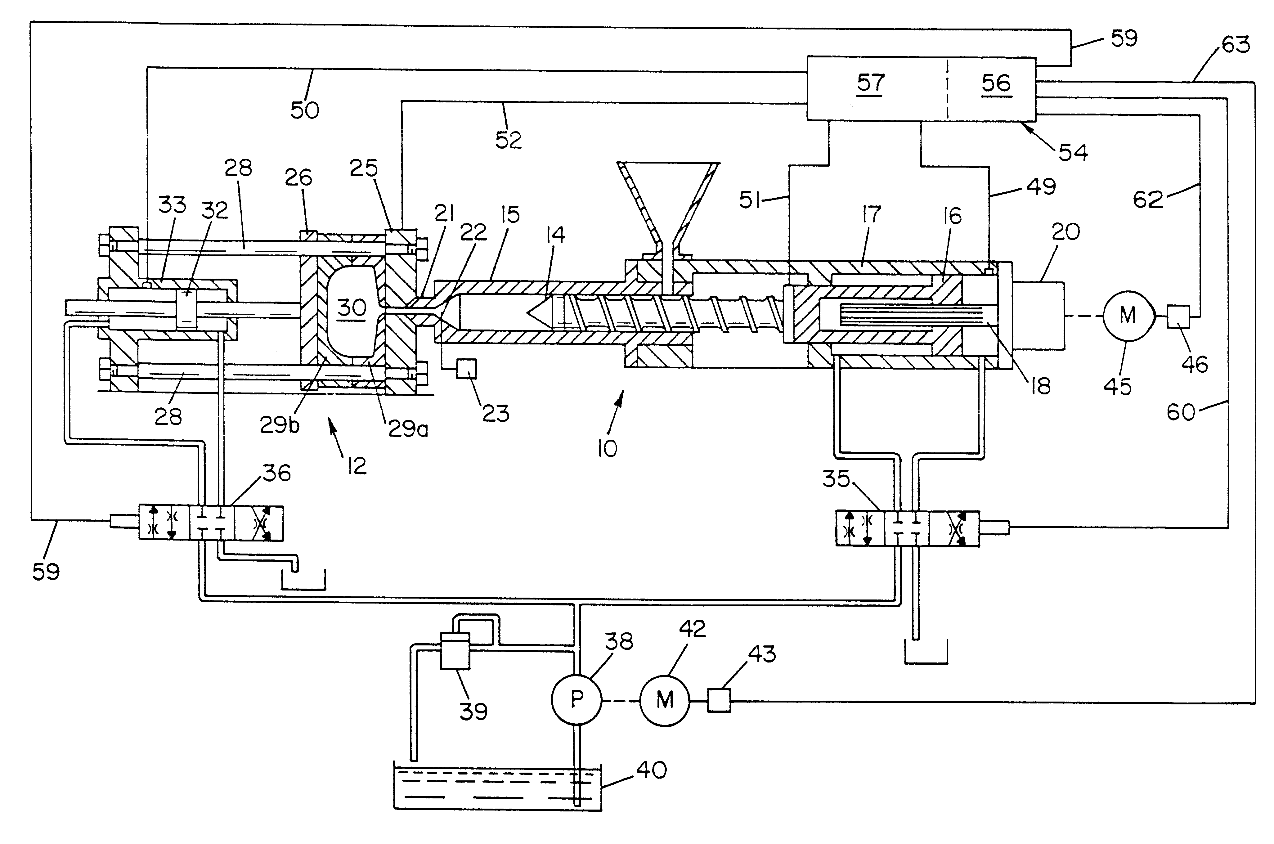 Patent Us6299427 Hybrid Injection Molding Machine
