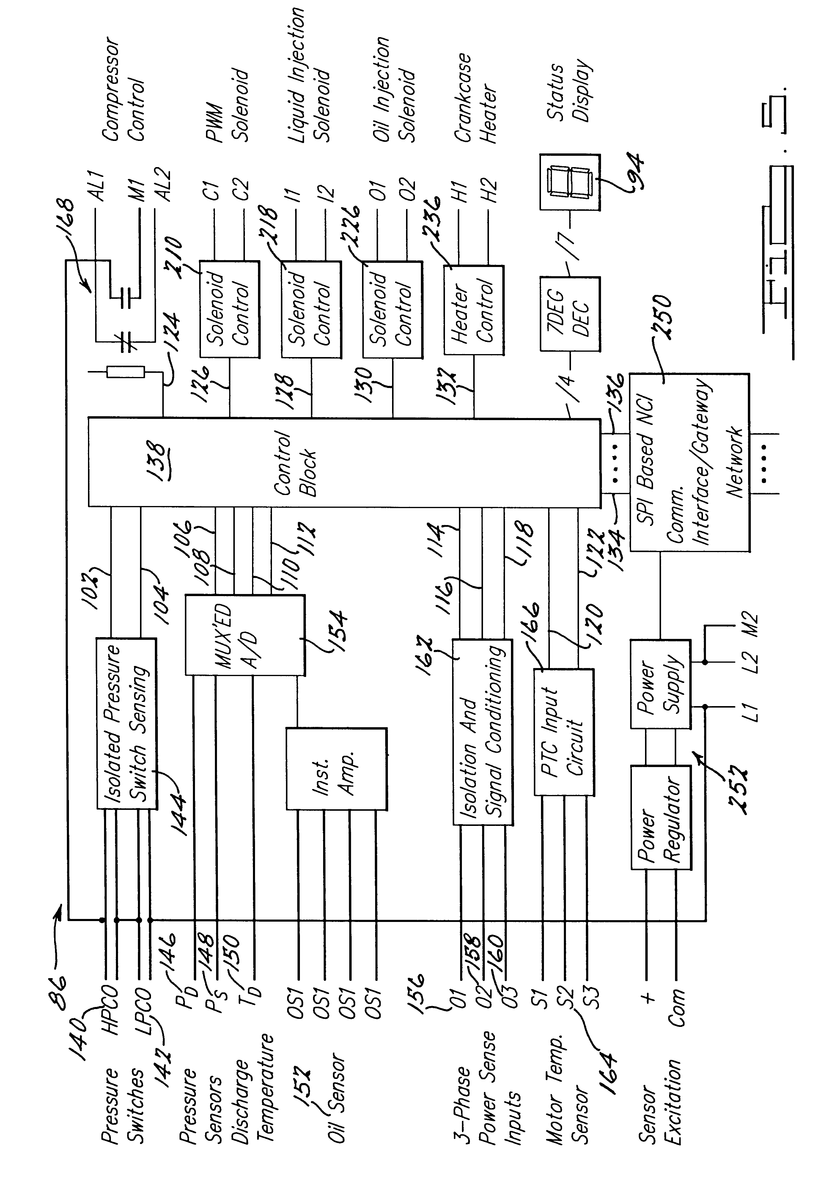 US06302654 20011016 D00004 patent us6302654 compressor with control and protection system refrigeration oil pressure switch wiring diagram at gsmportal.co
