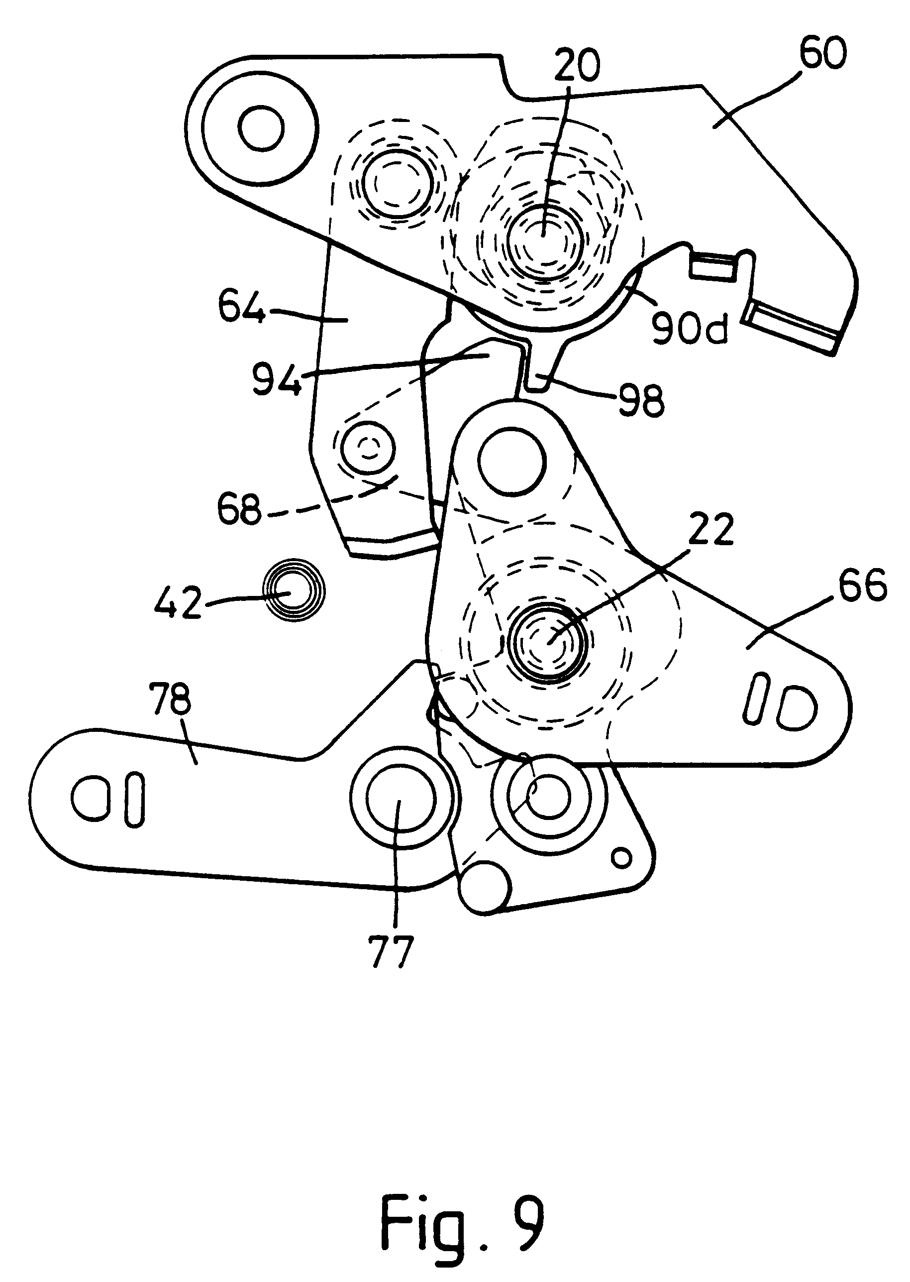 car door lock mechanism. patent drawing car door lock mechanism