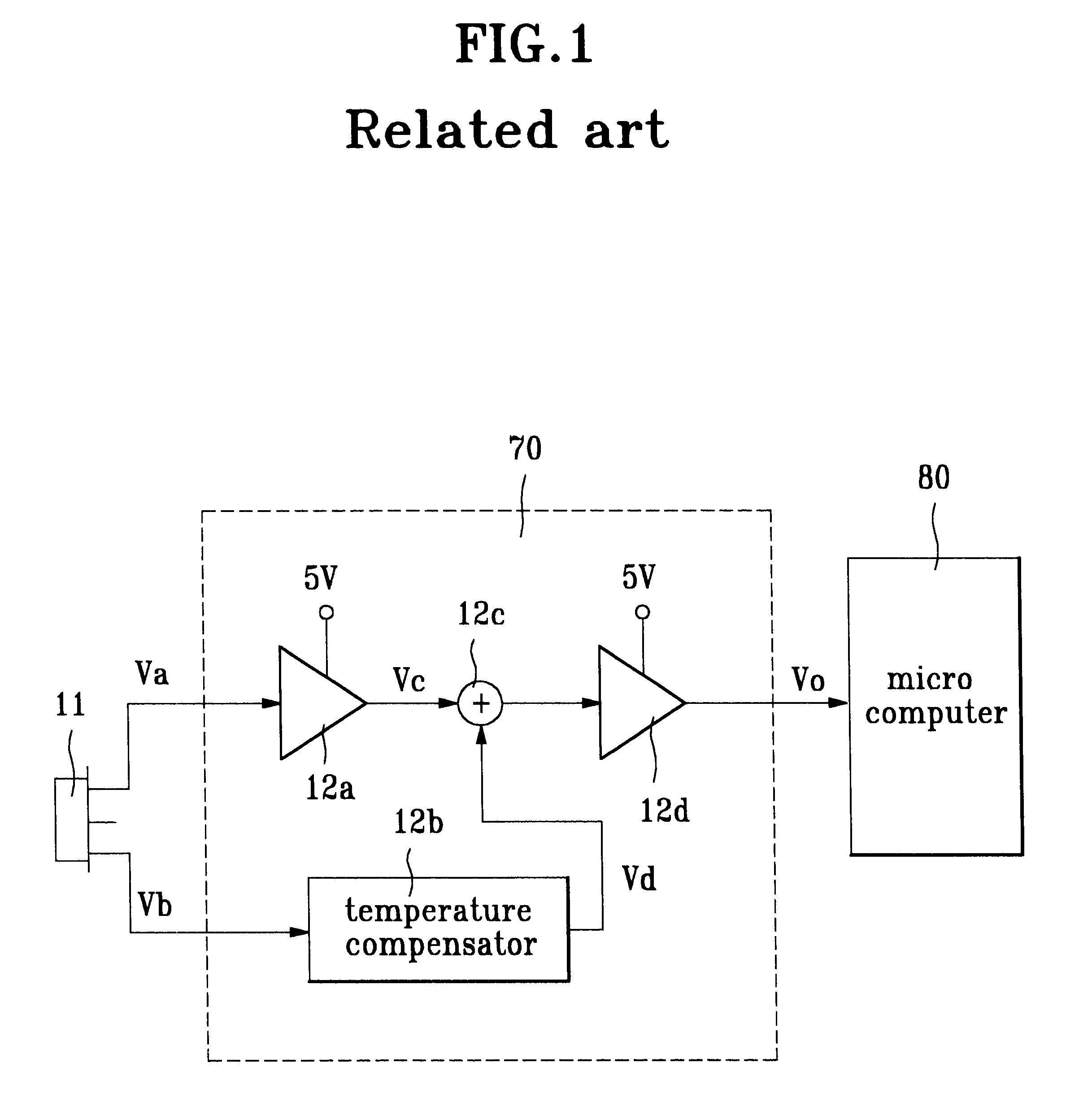 Patent Us6320450 Temperature Sensing Circuit Using Thermopile Sensor Schematic Drawing