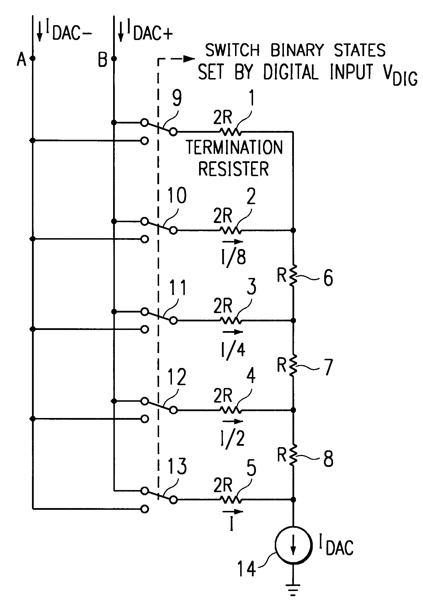 Brevet Us6337648 Mos Transistor Digital To Analog Converter Working Of 4 Bit R 2r Ladder D A Circuit 1 Technical Patent Drawing