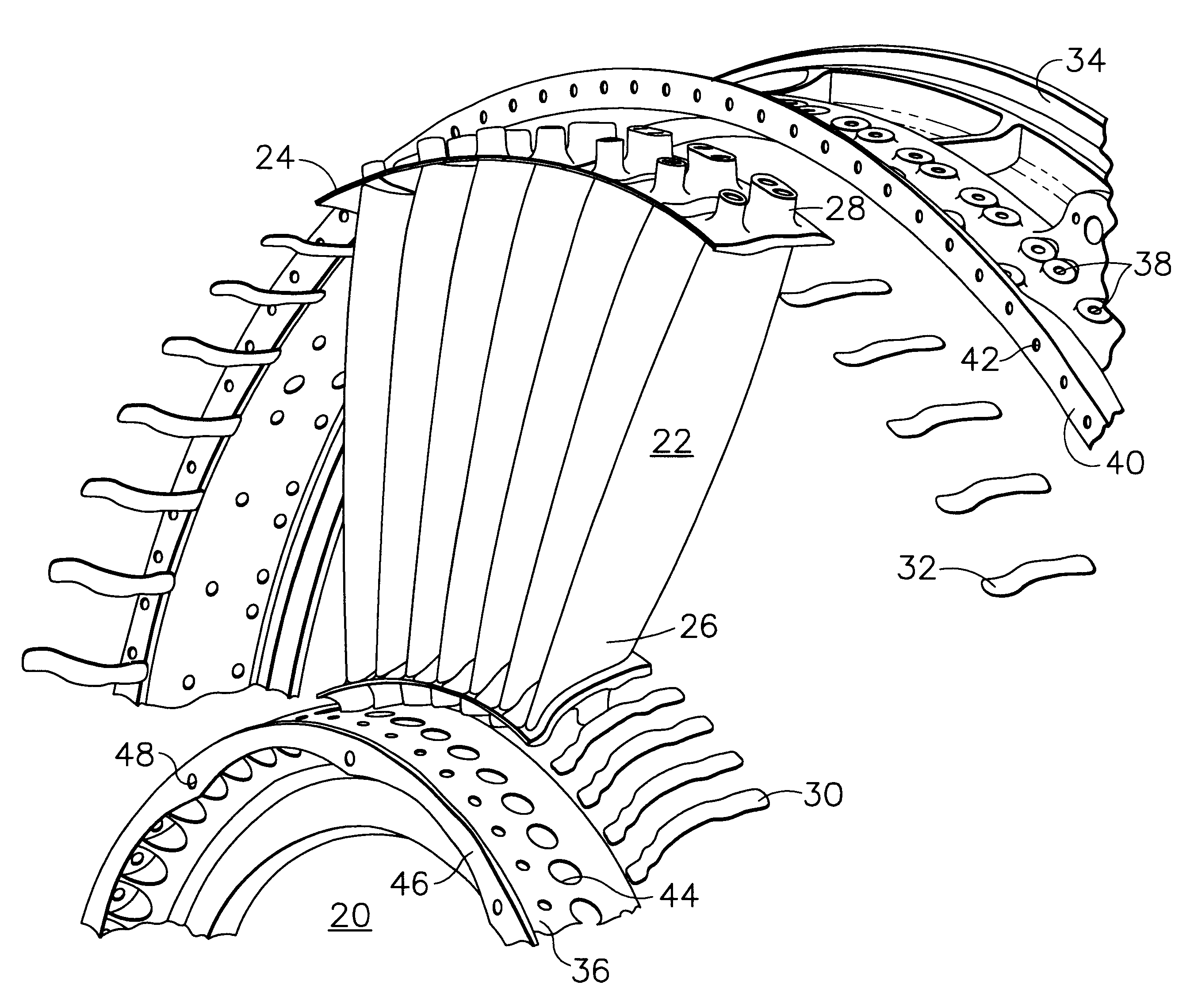 patent us6343912 - gas turbine or jet engine stator vane frame