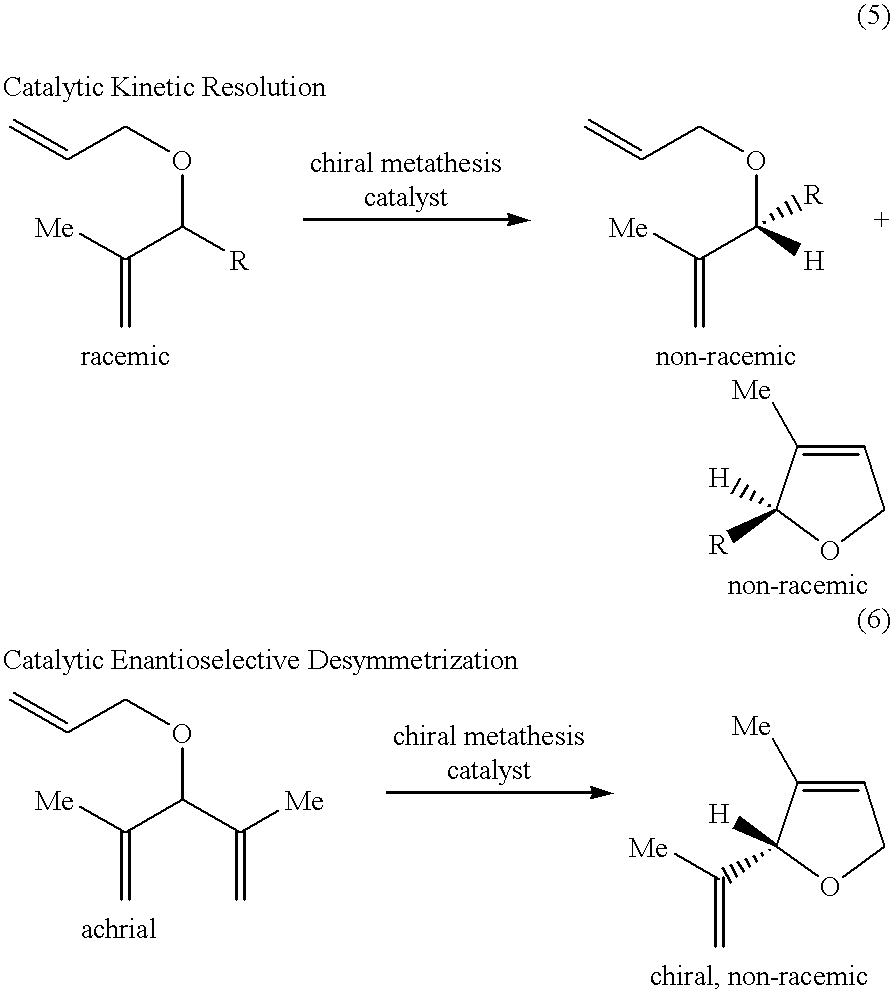 asymmetric ring closing metathesis A composition and method for the catalytic conversion of a racemic mixture of dienes to a cyclic olefin by a ring-closing metathesis (rcm) reaction are disclosed the.