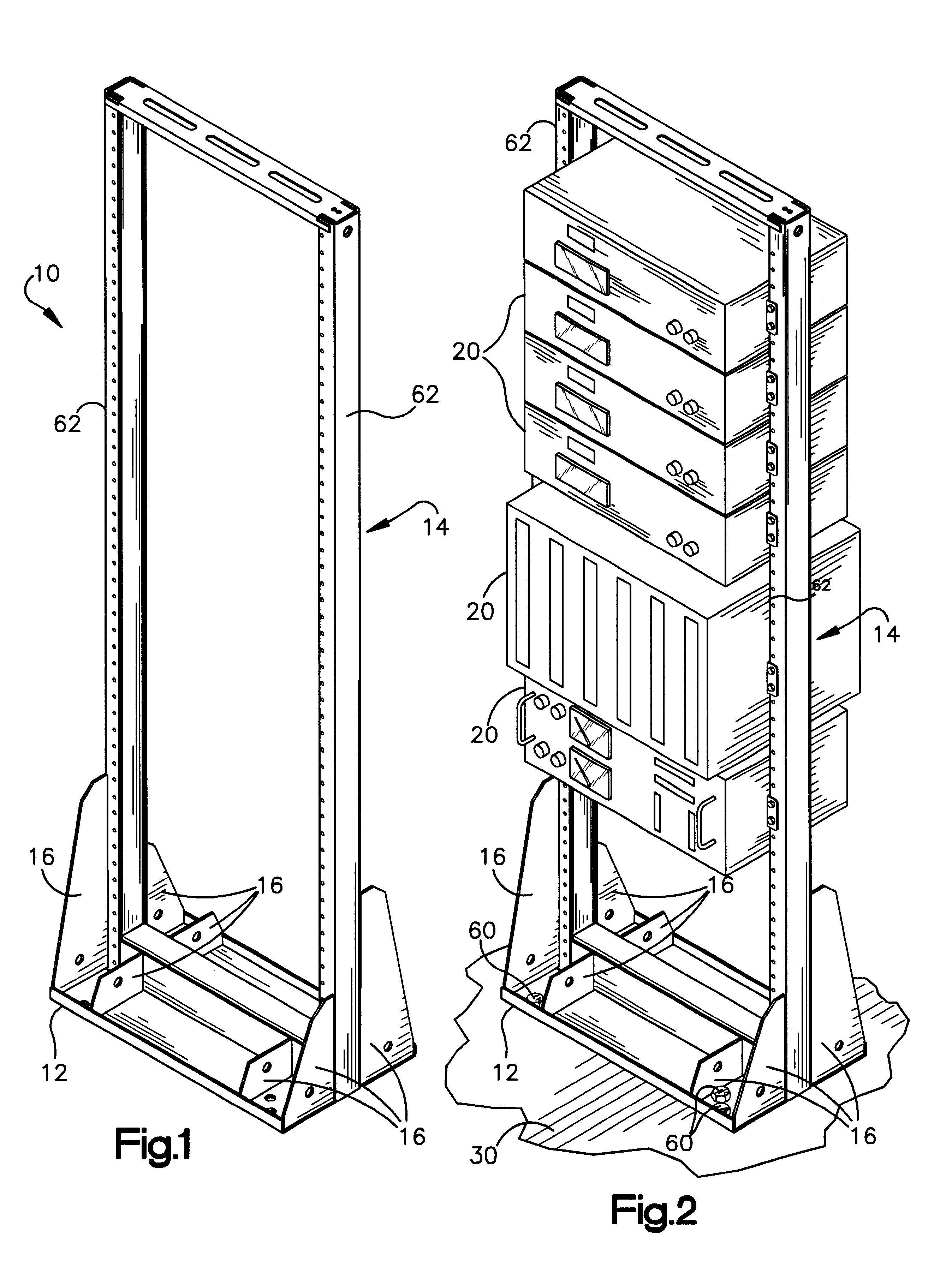 Patent US6349837 - Stiffened relay rack - Google Patents
