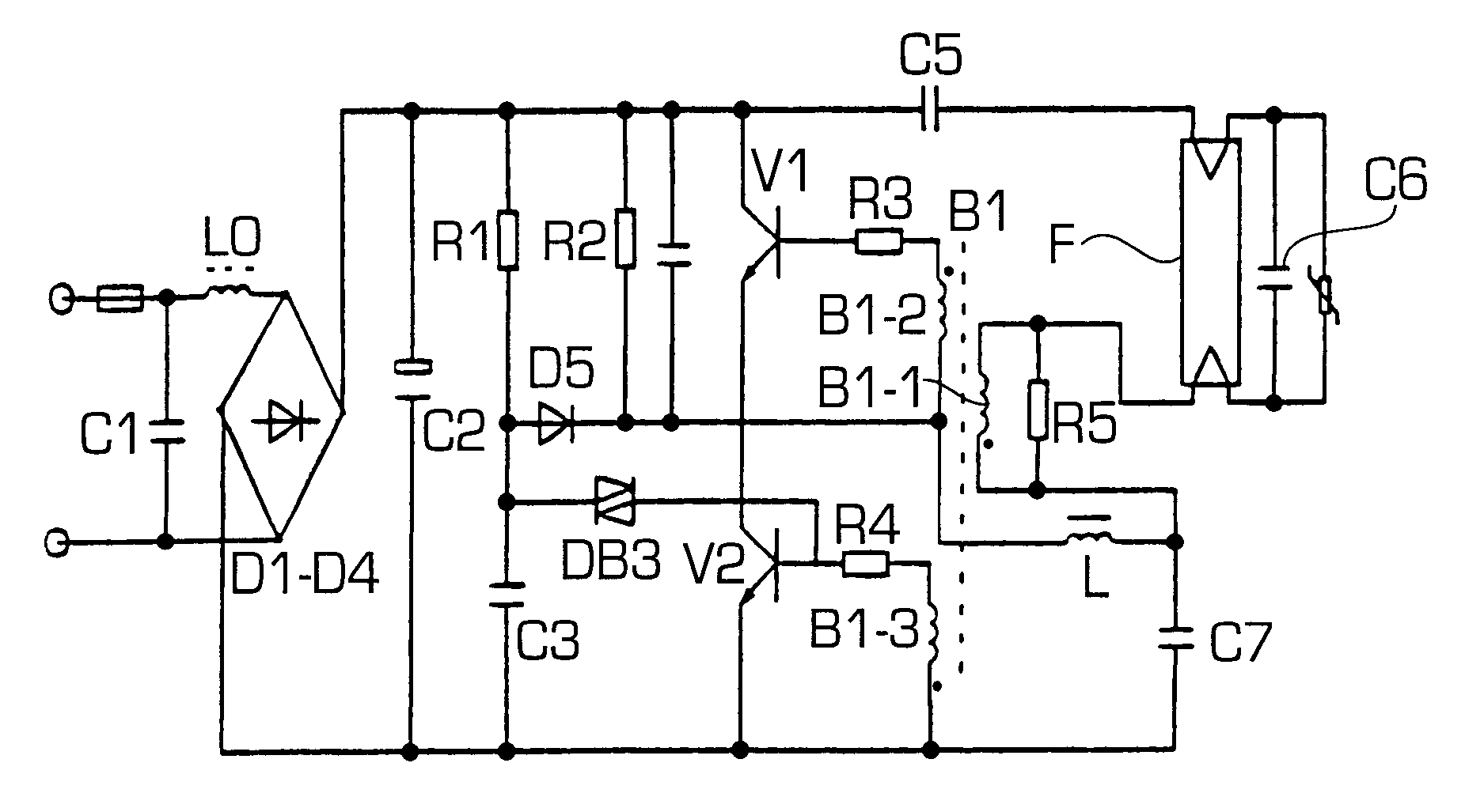 Patent Us6351082 Electronic Ballast For A Fluorescent Lamp Fluorescentlightelectronicballastcircuit Drawing
