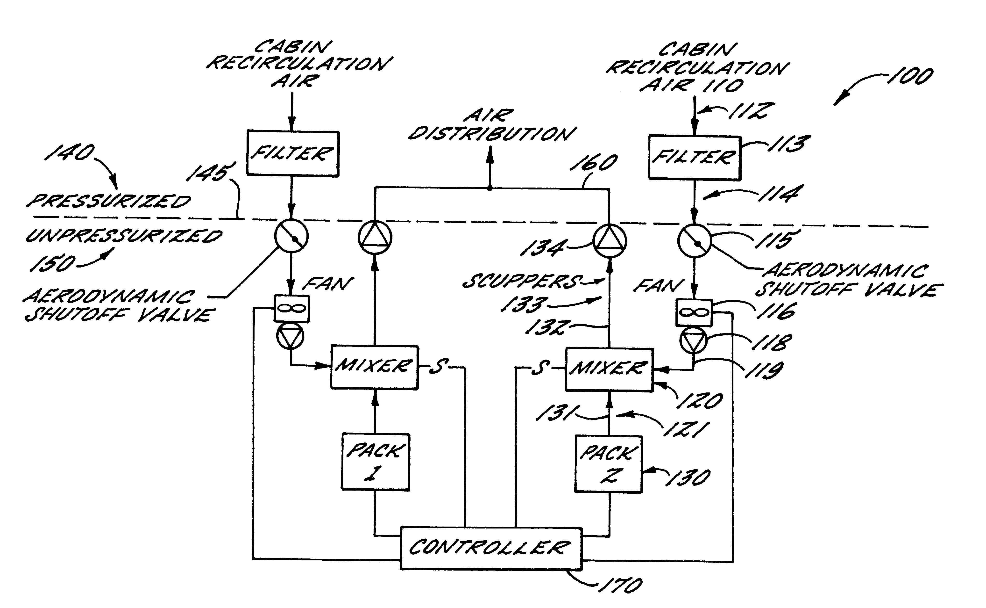 aircraft air conditioning system. patent drawing aircraft air conditioning system n