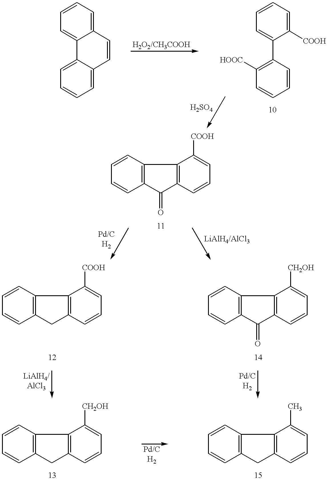 fluorenene to fluoronone The initial attack on both fluorene and 9-fluorenone was catalyzed by dbfa to yield 9-fluorenol and 1,1a-dihydroxy-1-hydro-9-fluorenone, respectively.