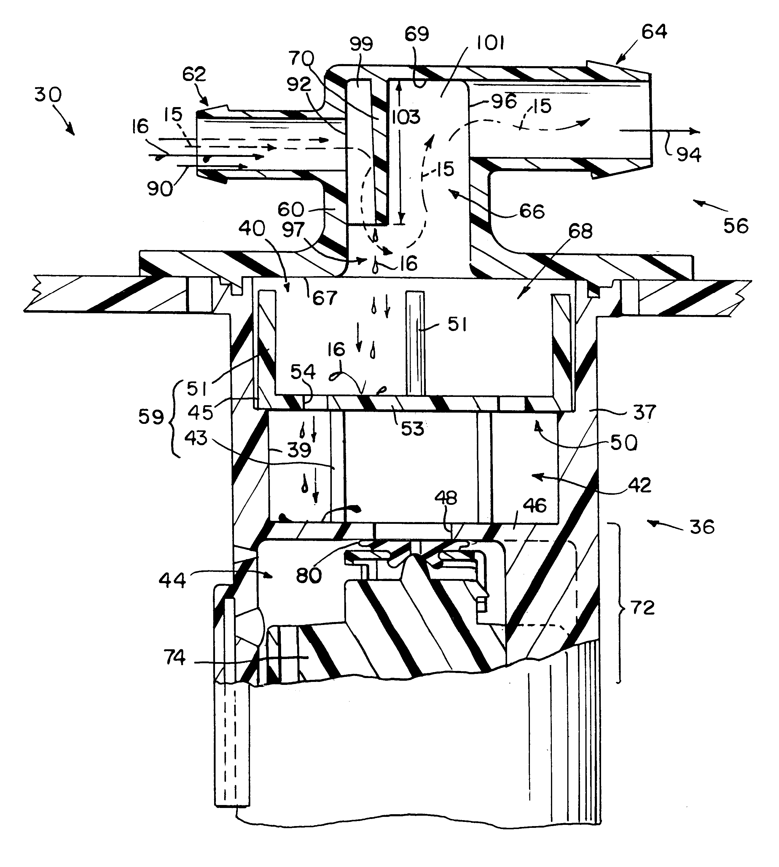 patent us6405747 - fuel tank vent valve with liquid carryover filter