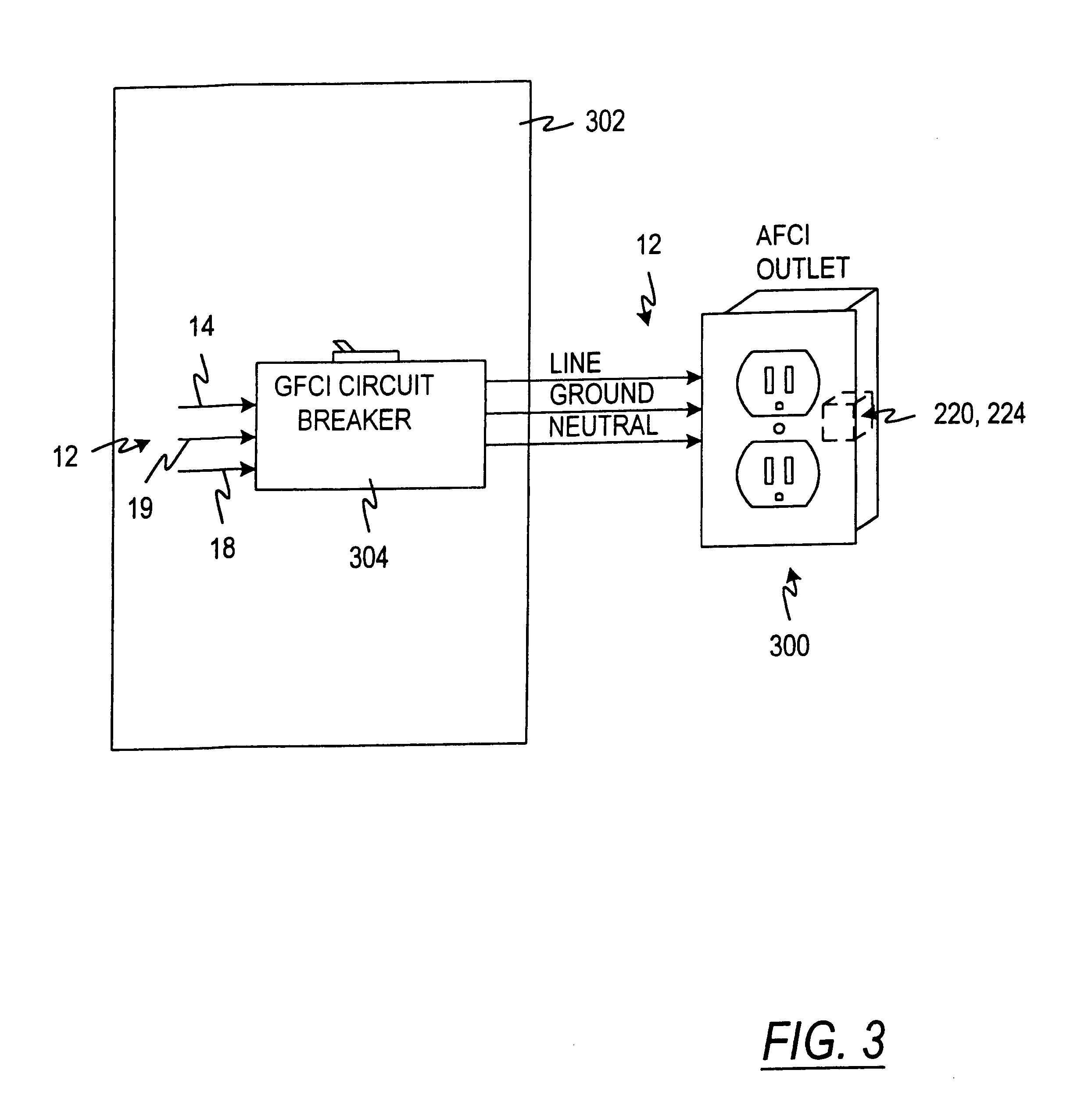 US06414829 20020702 D00003 patent us6414829 arc fault circuit interrupter google patents afci breaker wiring diagram at fashall.co