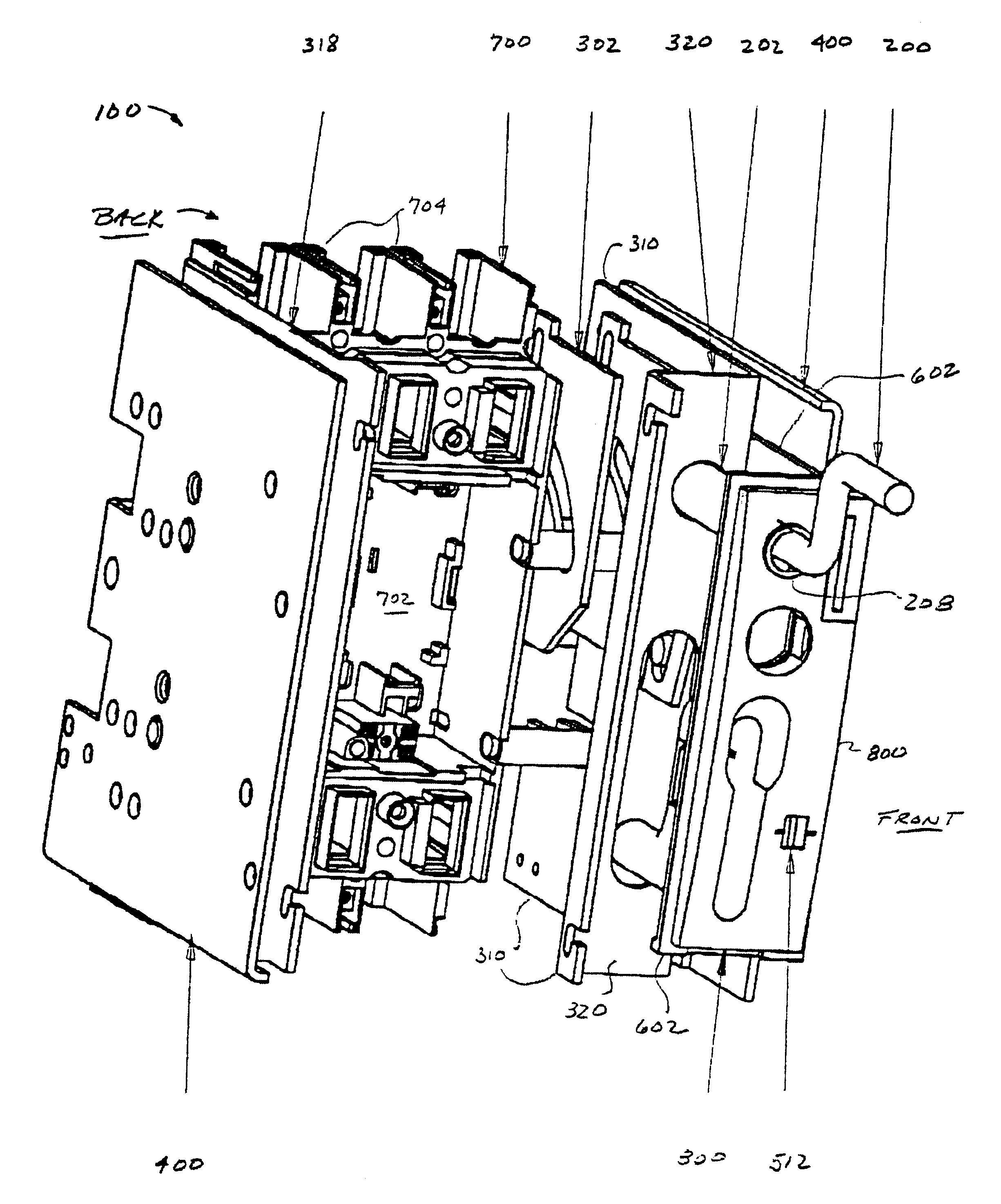patent us6476335 - draw-out mechanism for molded case circuit breakers