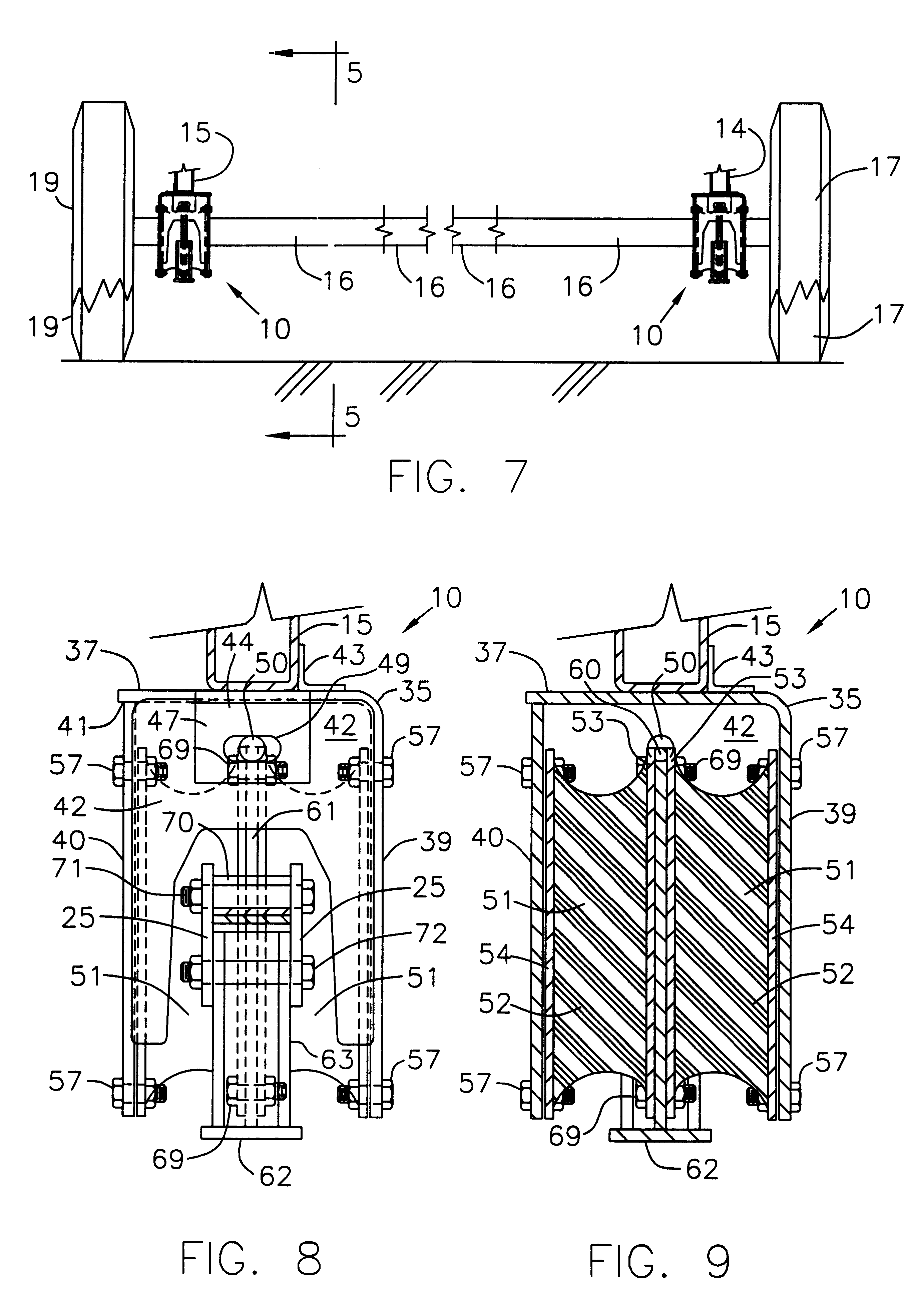 patent us6478321 - rubber shear spring assembly for tandem axle trailer