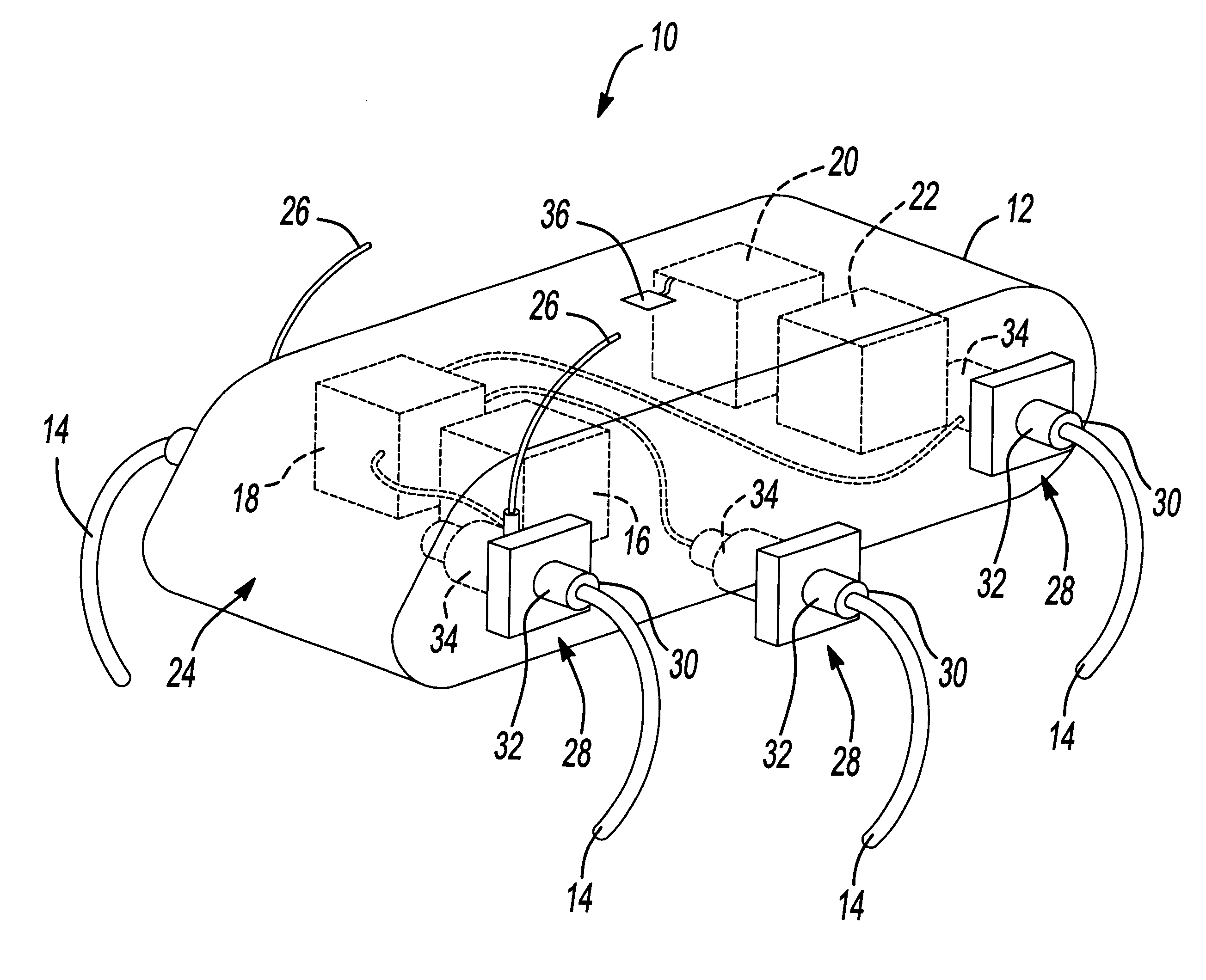 patent us6481513 single actuator per leg robotic hexapod