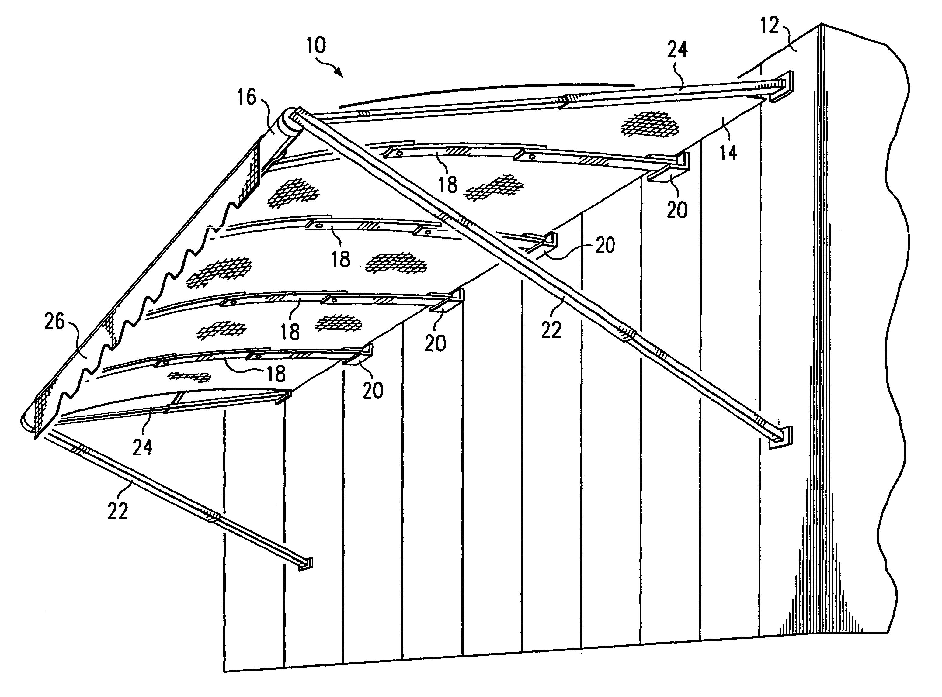 Patent Us6494246 Retractable Awning And Method Google