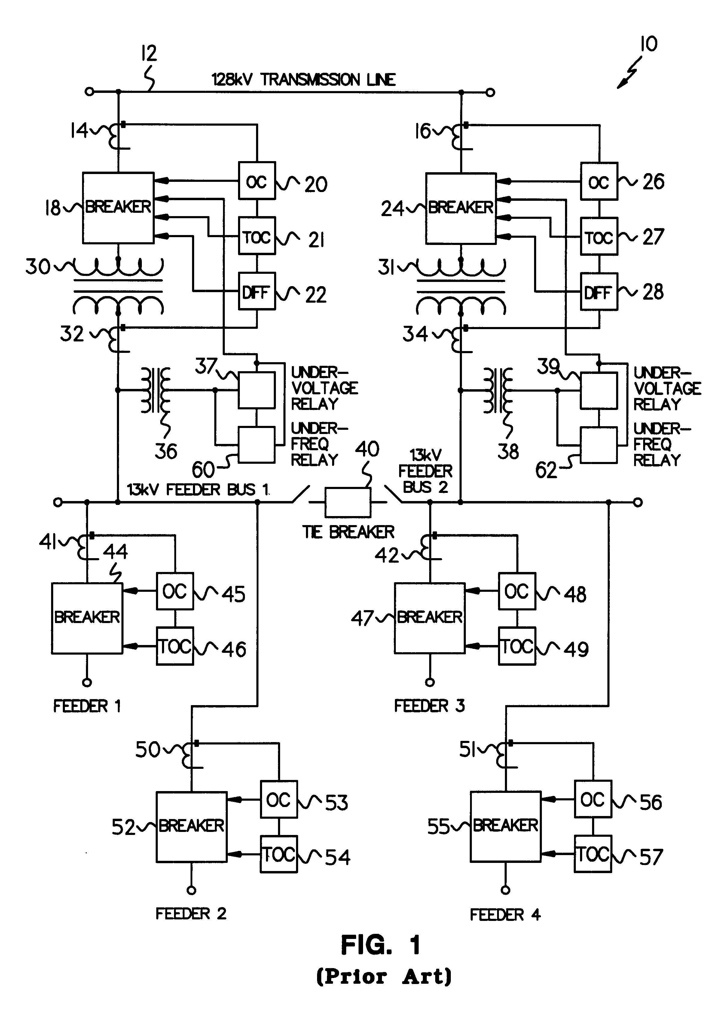 Patent US Distributed Monitoring And Protection System - Differential relay wiring diagram
