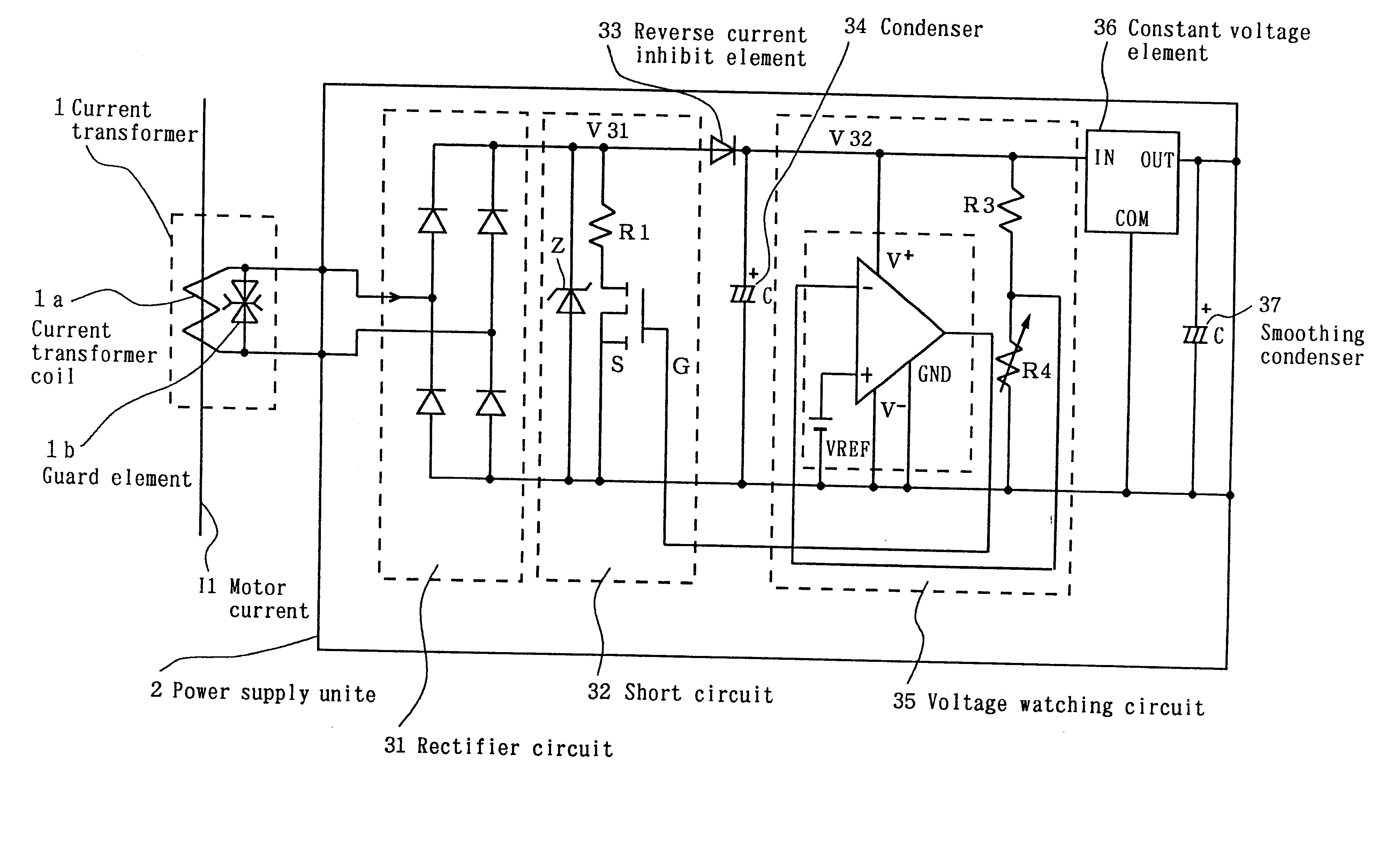 patent us6496391 - power supply unit utilizing a current transformer