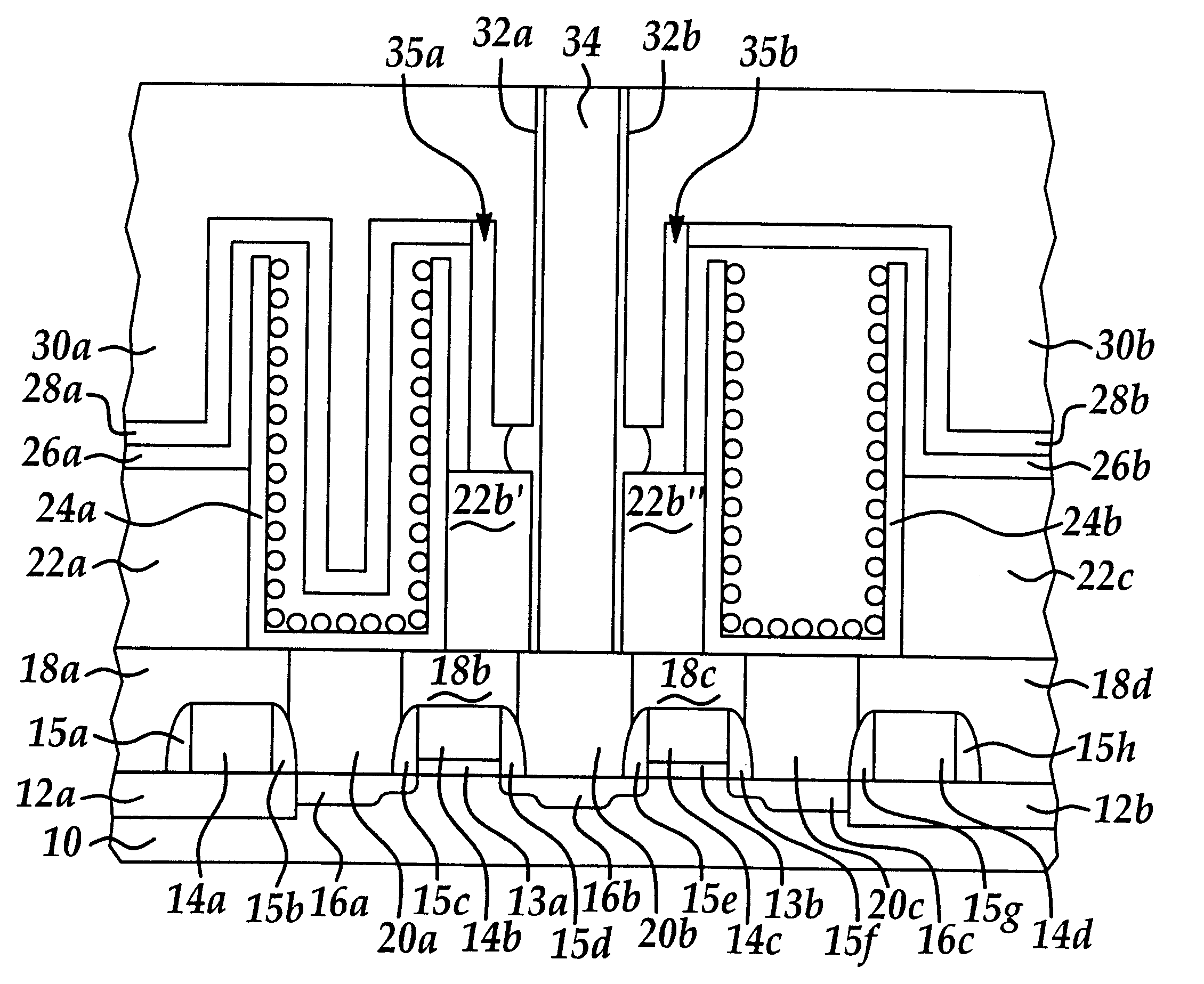 Brevet Us6501120 Capacitor Under Bitline Cub Memory Cell Diagram Of Structure Patent Drawing
