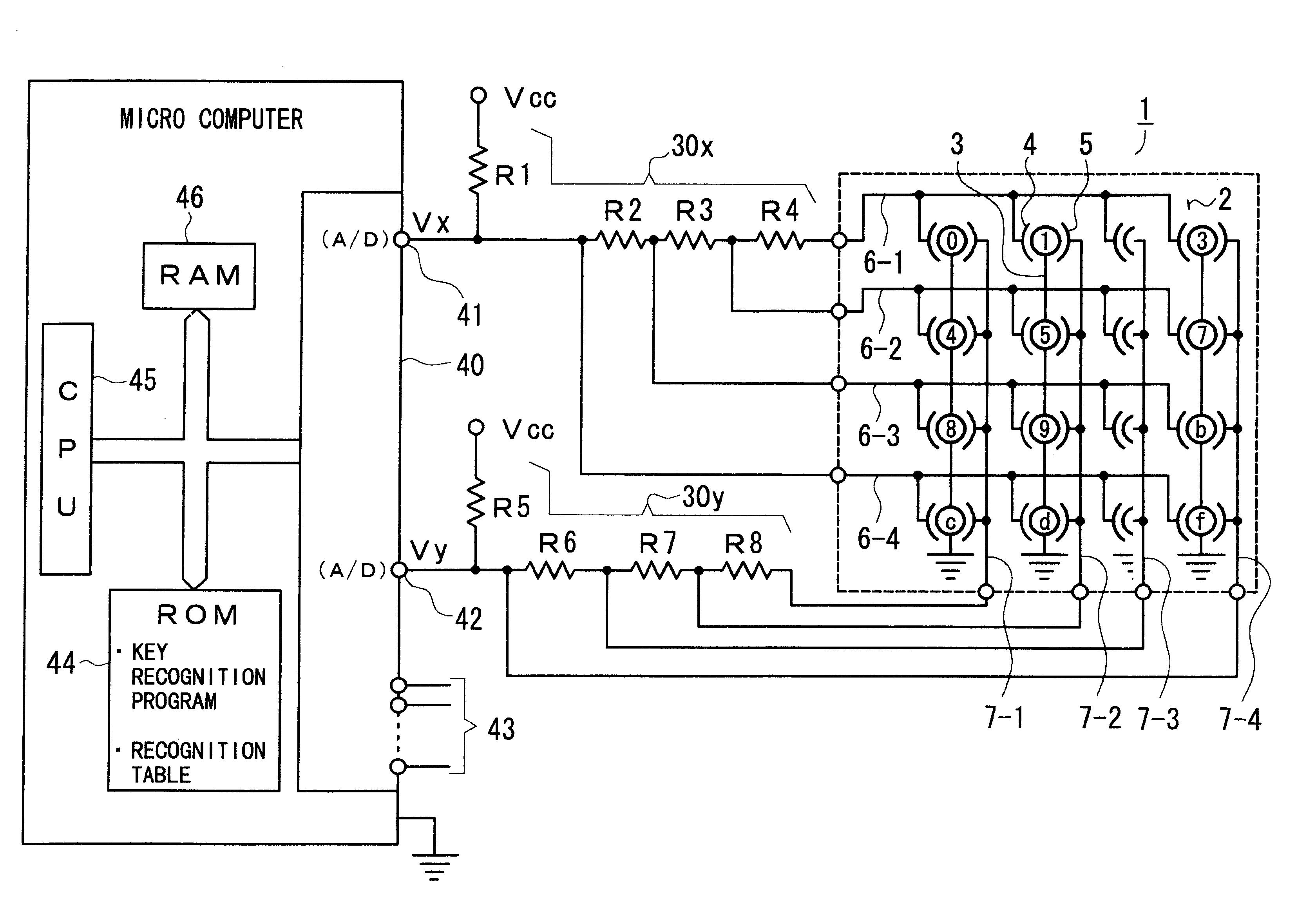patent us6509846 - key matrix circuit