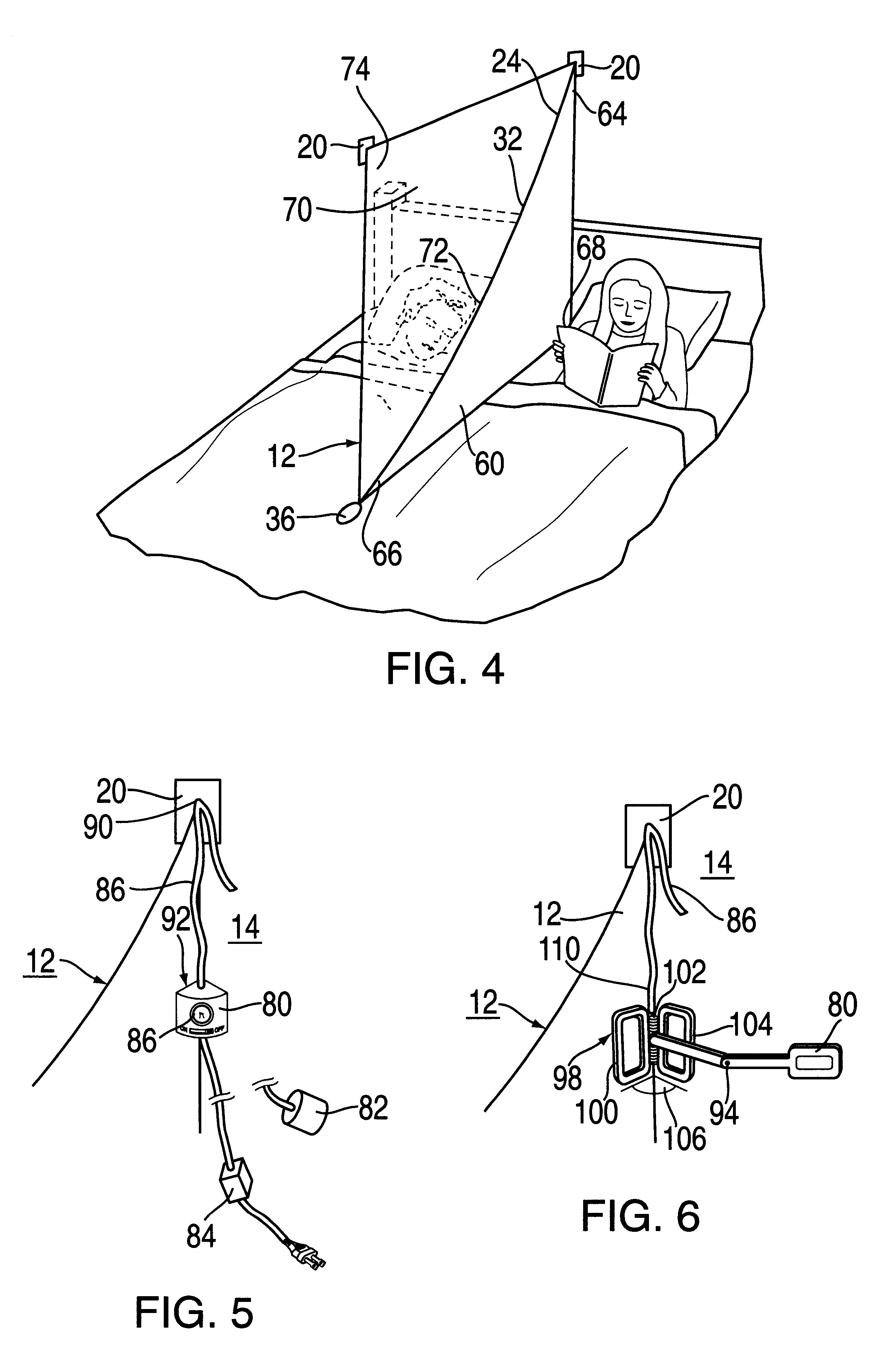 patent us6510572 - bed curtain divider - google patents