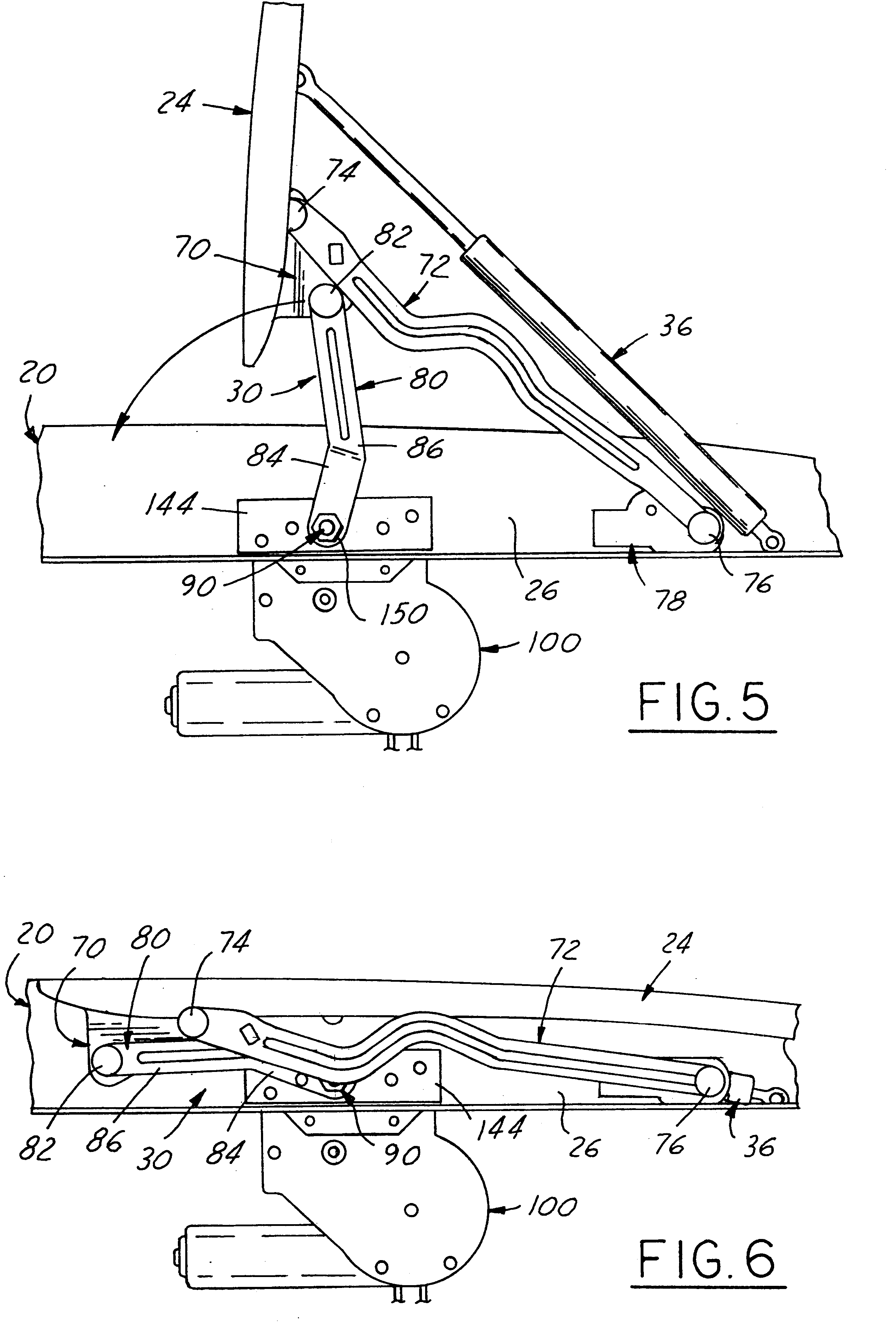 Patent Us6520557 Power Actuating System For Four Bar