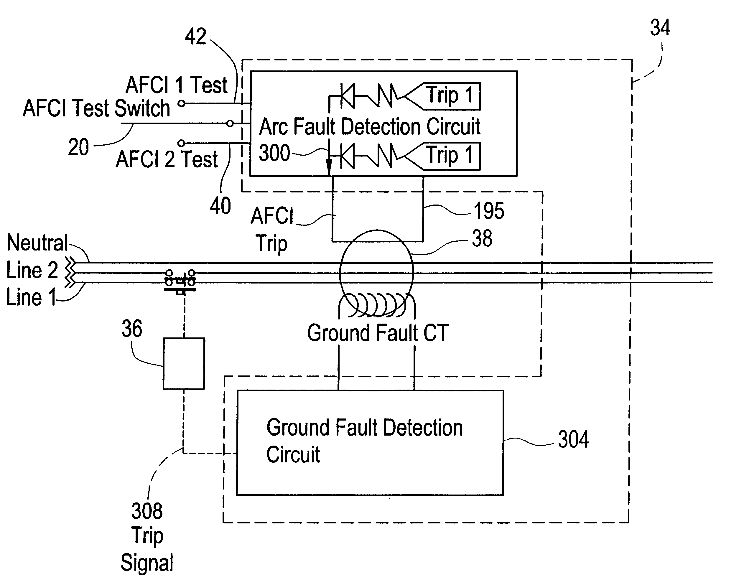 Afci Tester Schematic The Portal And Forum Of Wiring Diagram Receptacle Patent Us6538862 Circuit Breaker With A Single Test Button Rh Google Com Pg Outlet