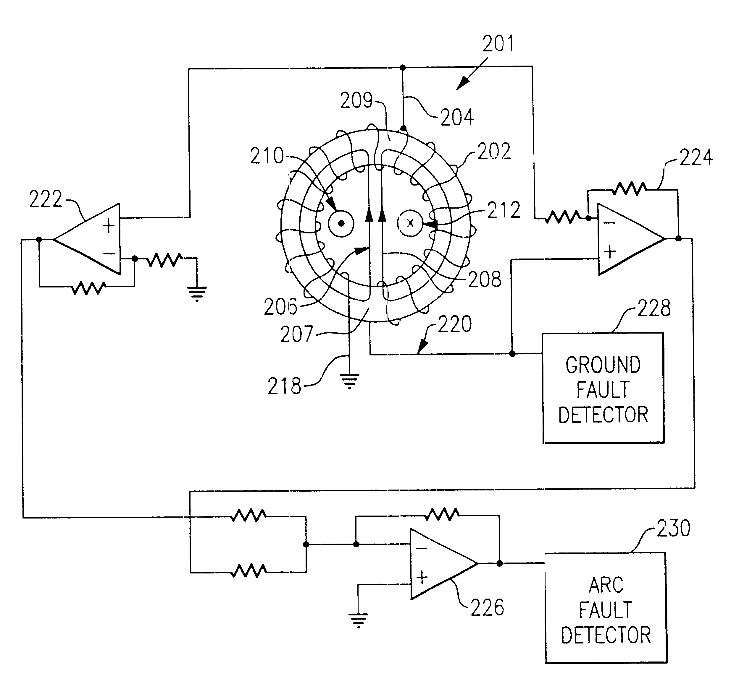 patent us6538863 - arc fault circuit protection device with asymmetrical transformer
