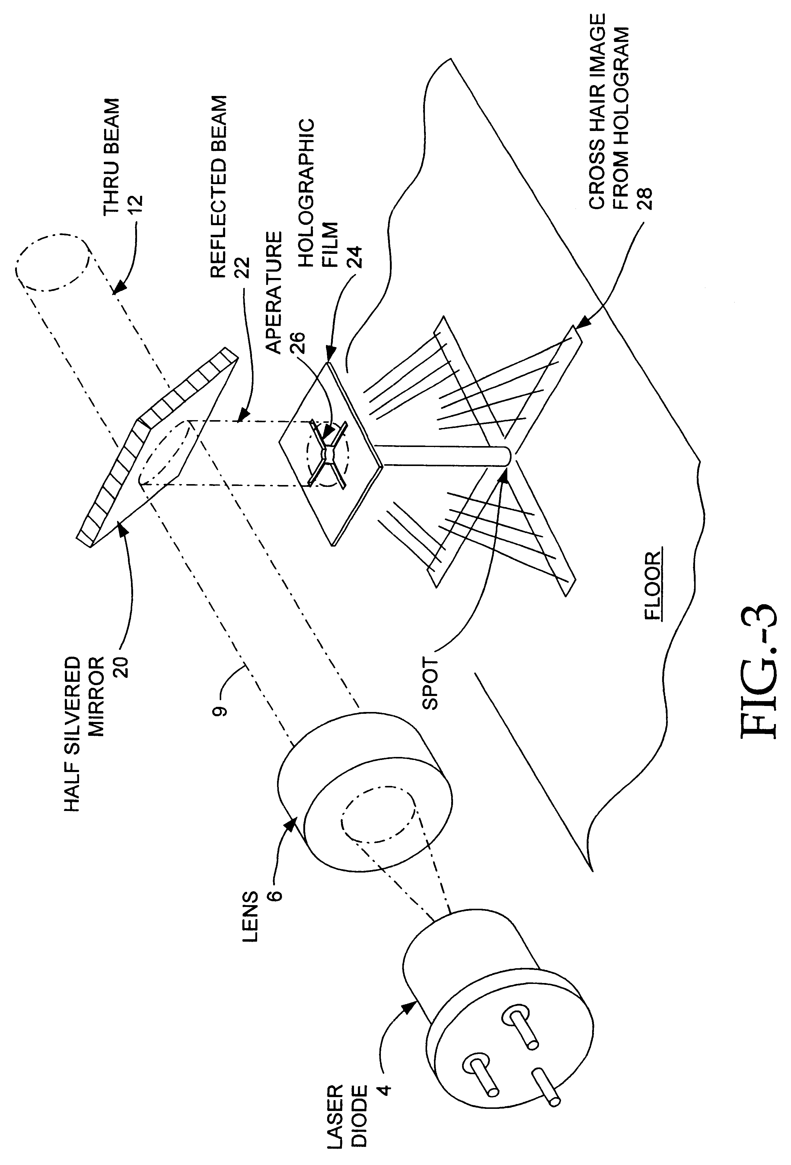patent us6542304 - laser beam device with apertured reflective element