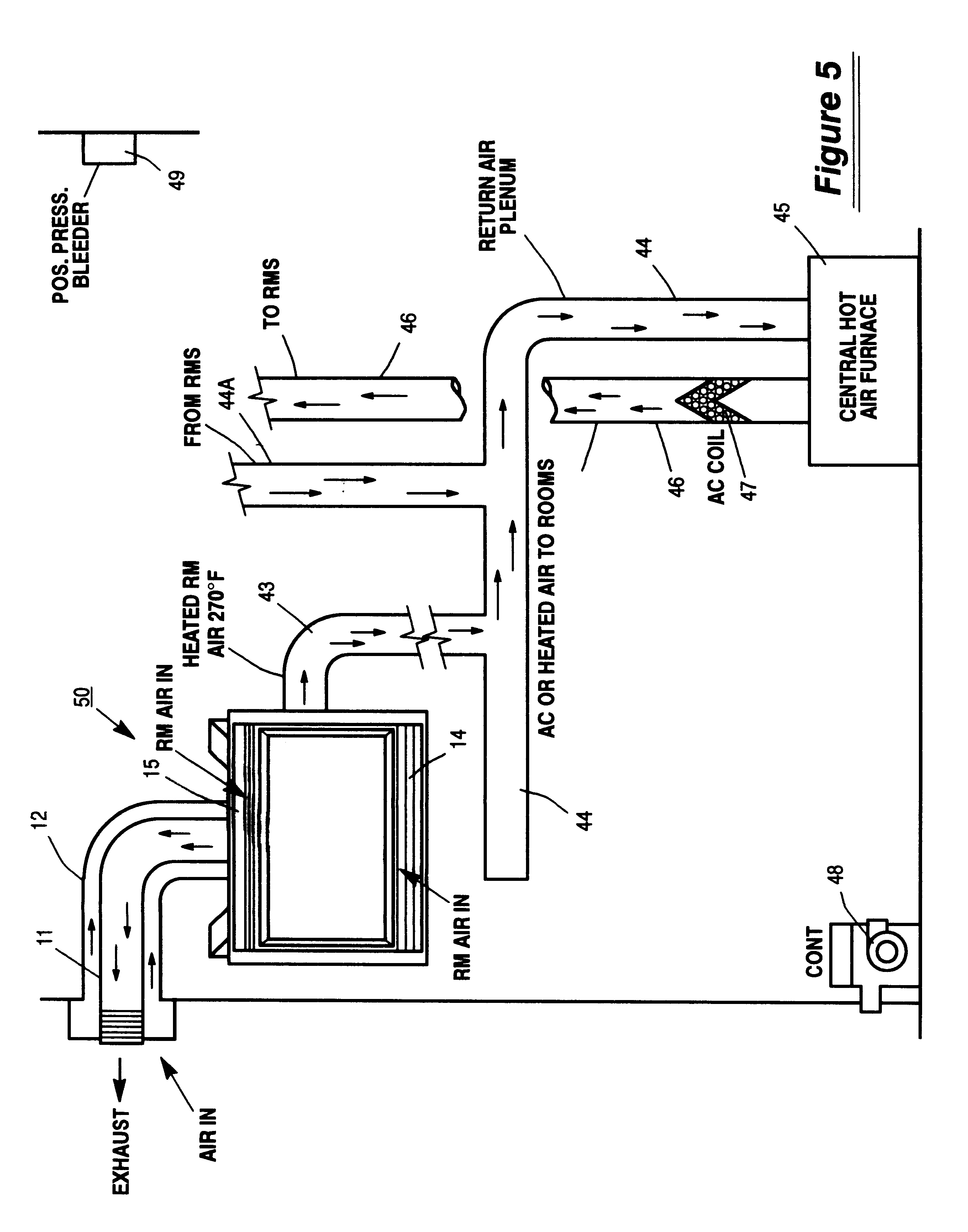 Patent us6543698 fireplace make up air heat exchange for Fireplace heater system