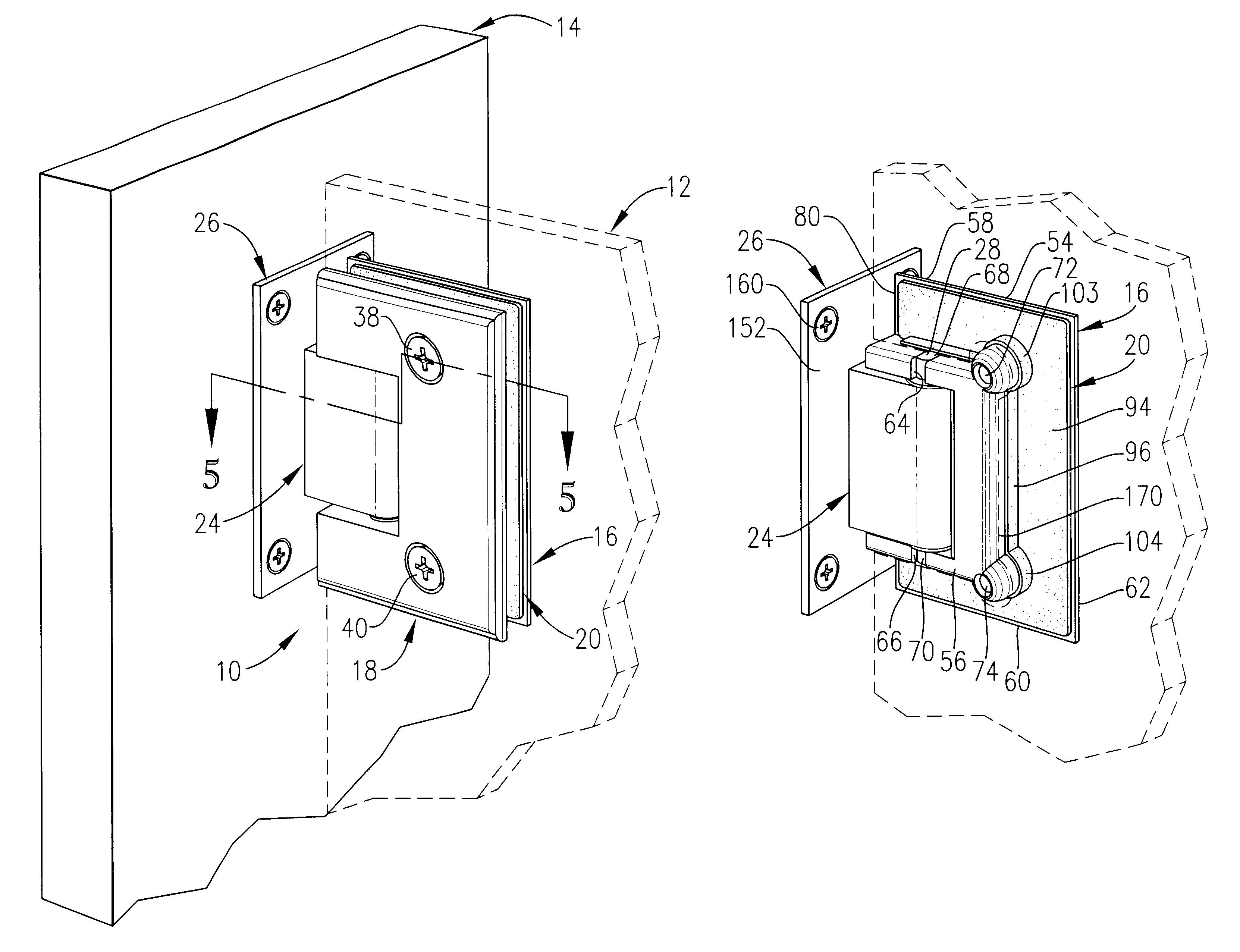Glass to glass door hinges - Patent Drawing