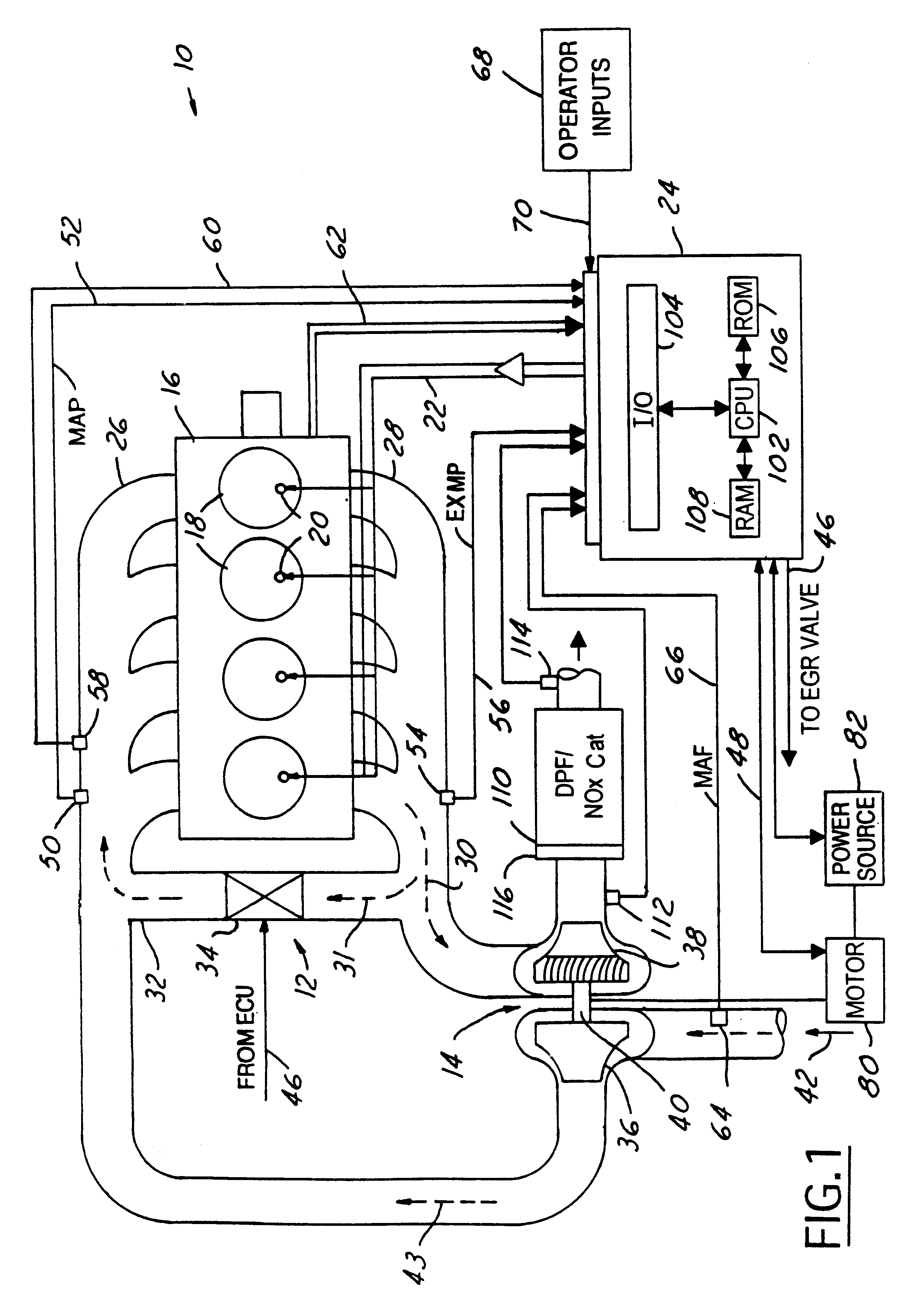 patent us6568173 control method for turbocharged diesel engine patent drawing