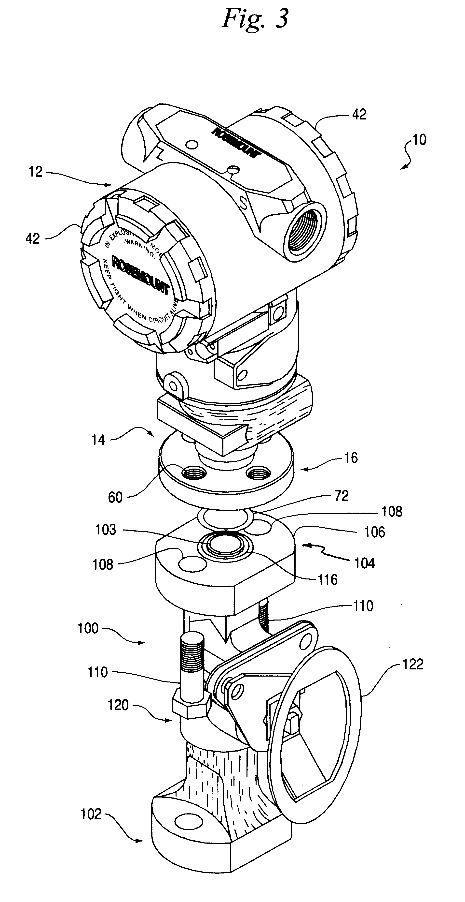 patent us6568278 - process connection for in-line pressure transmitter