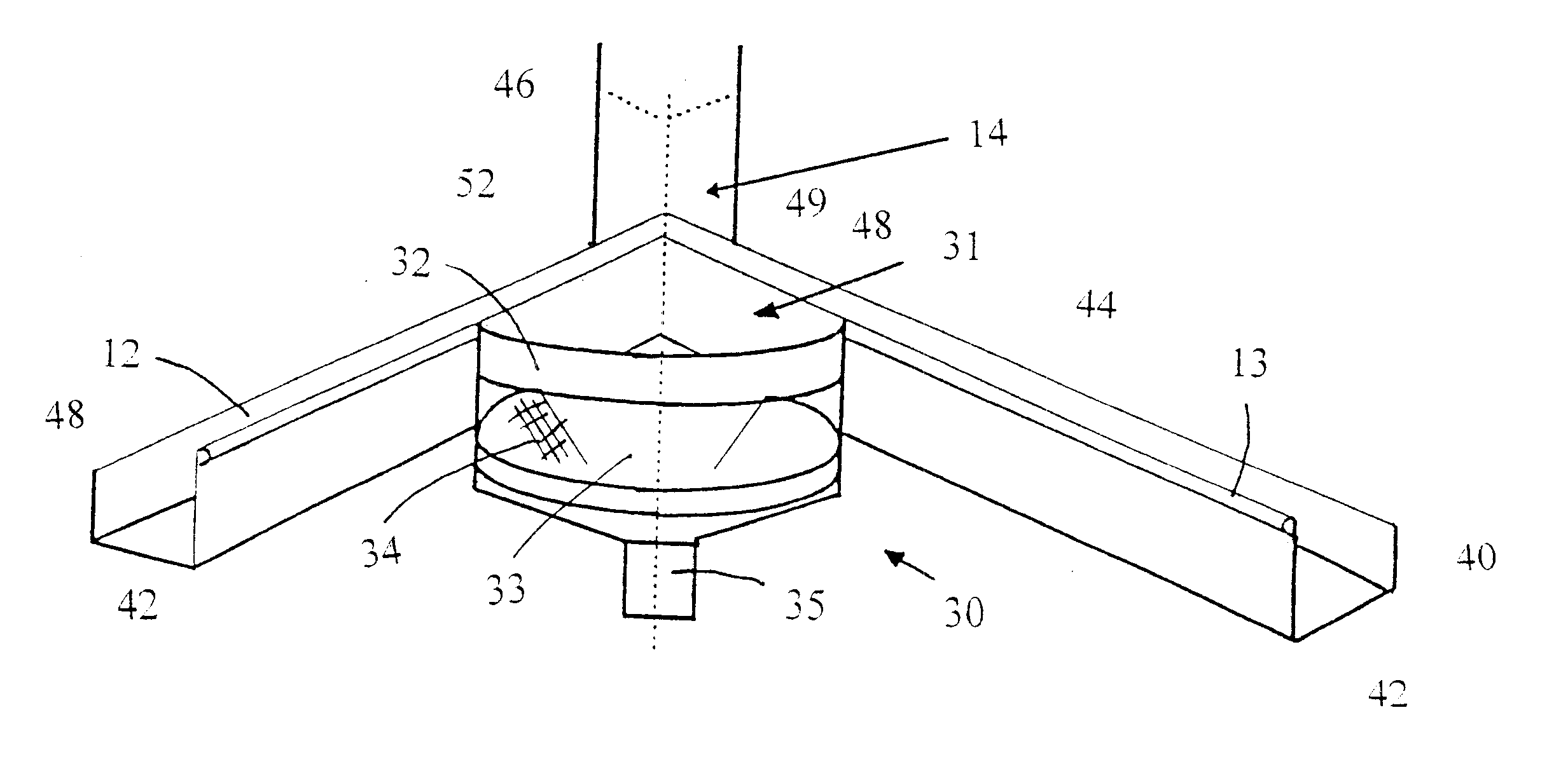 patent us6584733 internal corner roof gutters google patents patent drawing