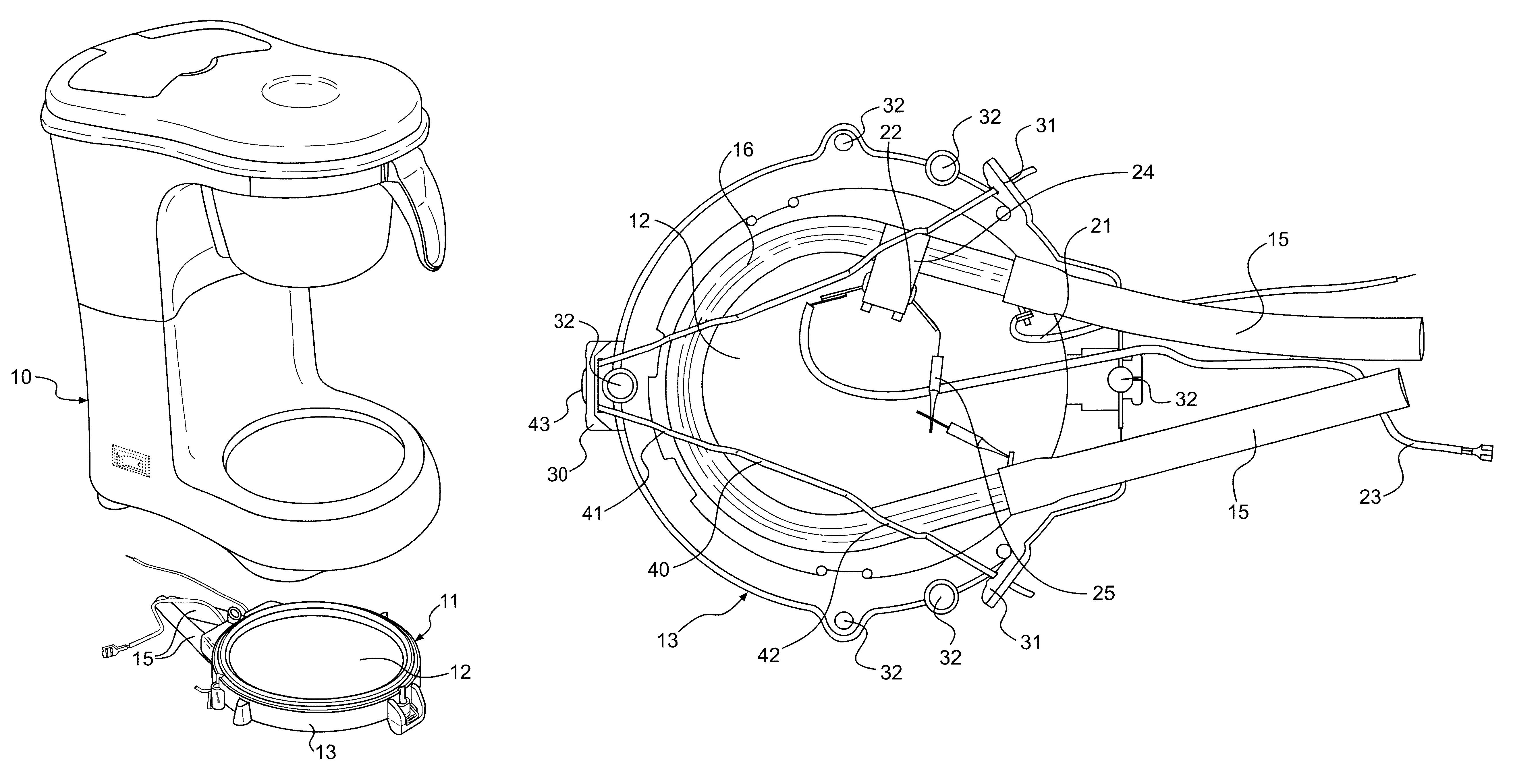 Coffee Maker Drawing ~ Patent us coffee maker heater warmer plate
