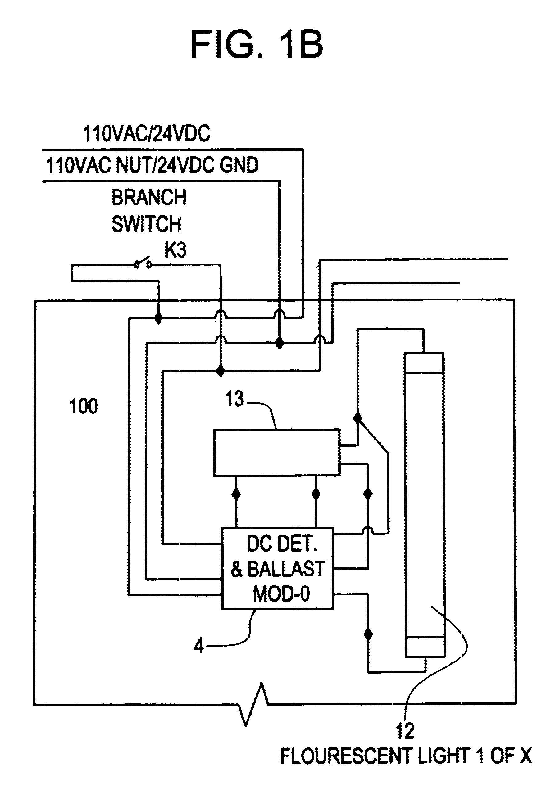 US06628083 20030930 D00002 patent us6628083 central battery emergency lighting system dc light wiring diagram at virtualis.co