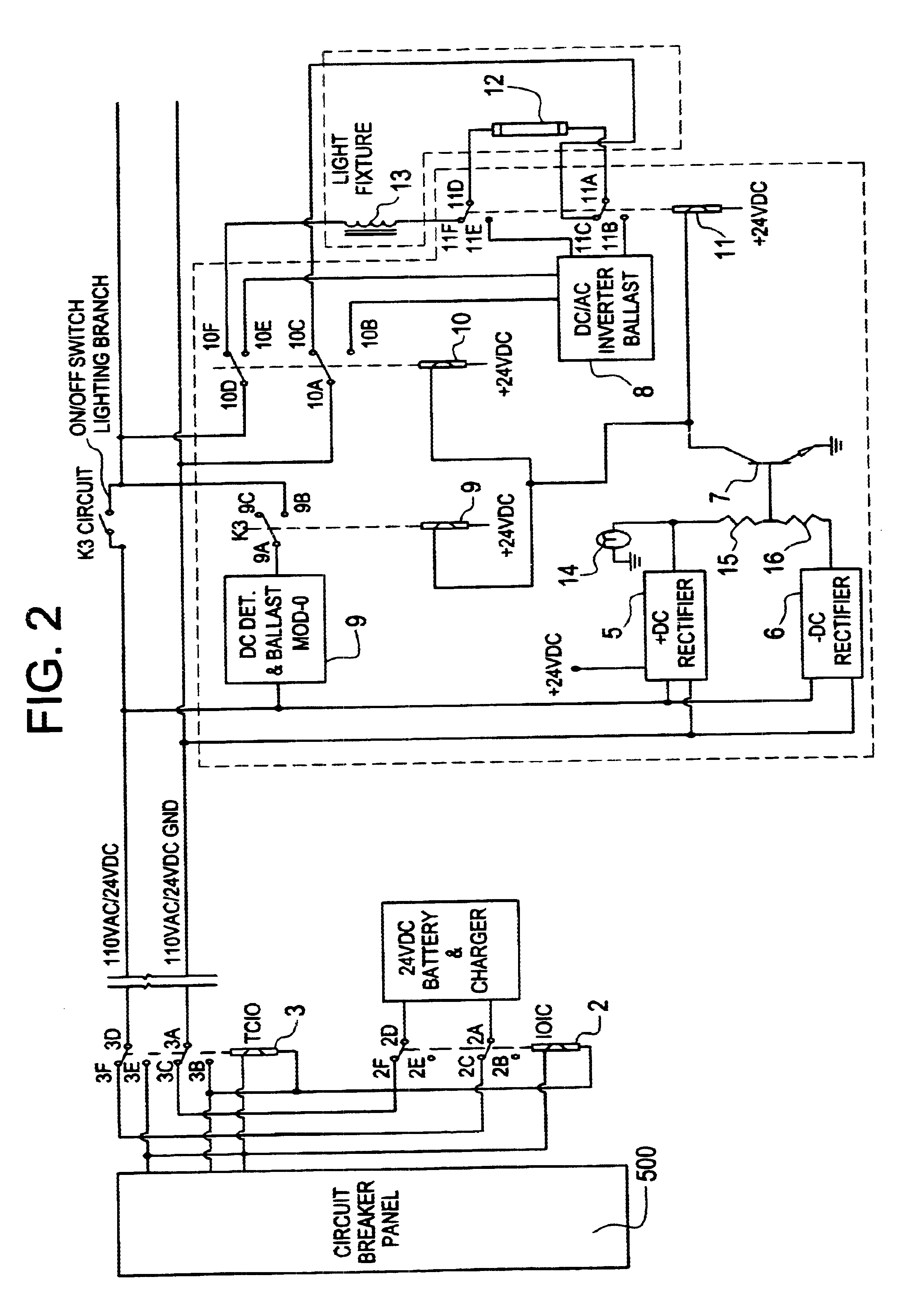 patent us6628083 - central battery emergency lighting system
