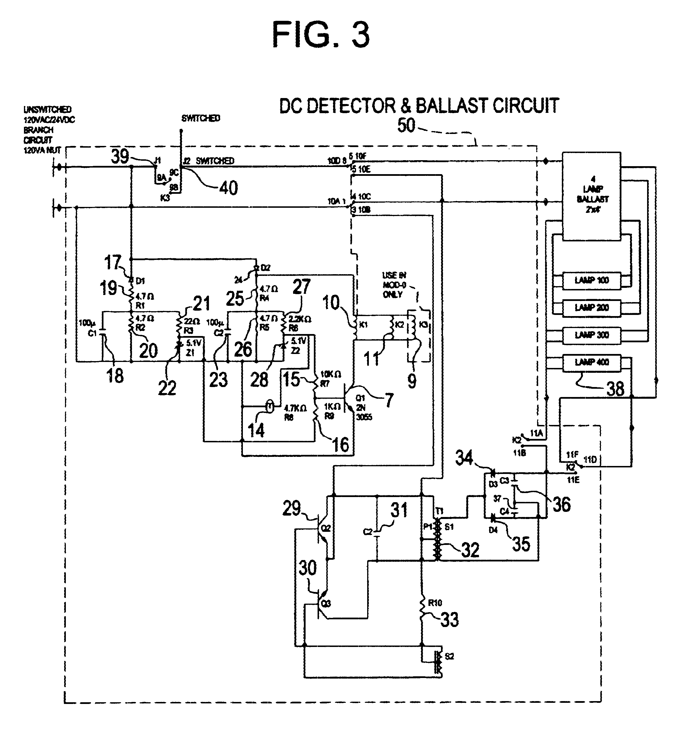 US06628083 20030930 D00005 patent us6628083 central battery emergency lighting system bodine b50 emergency ballast wiring diagram at alyssarenee.co