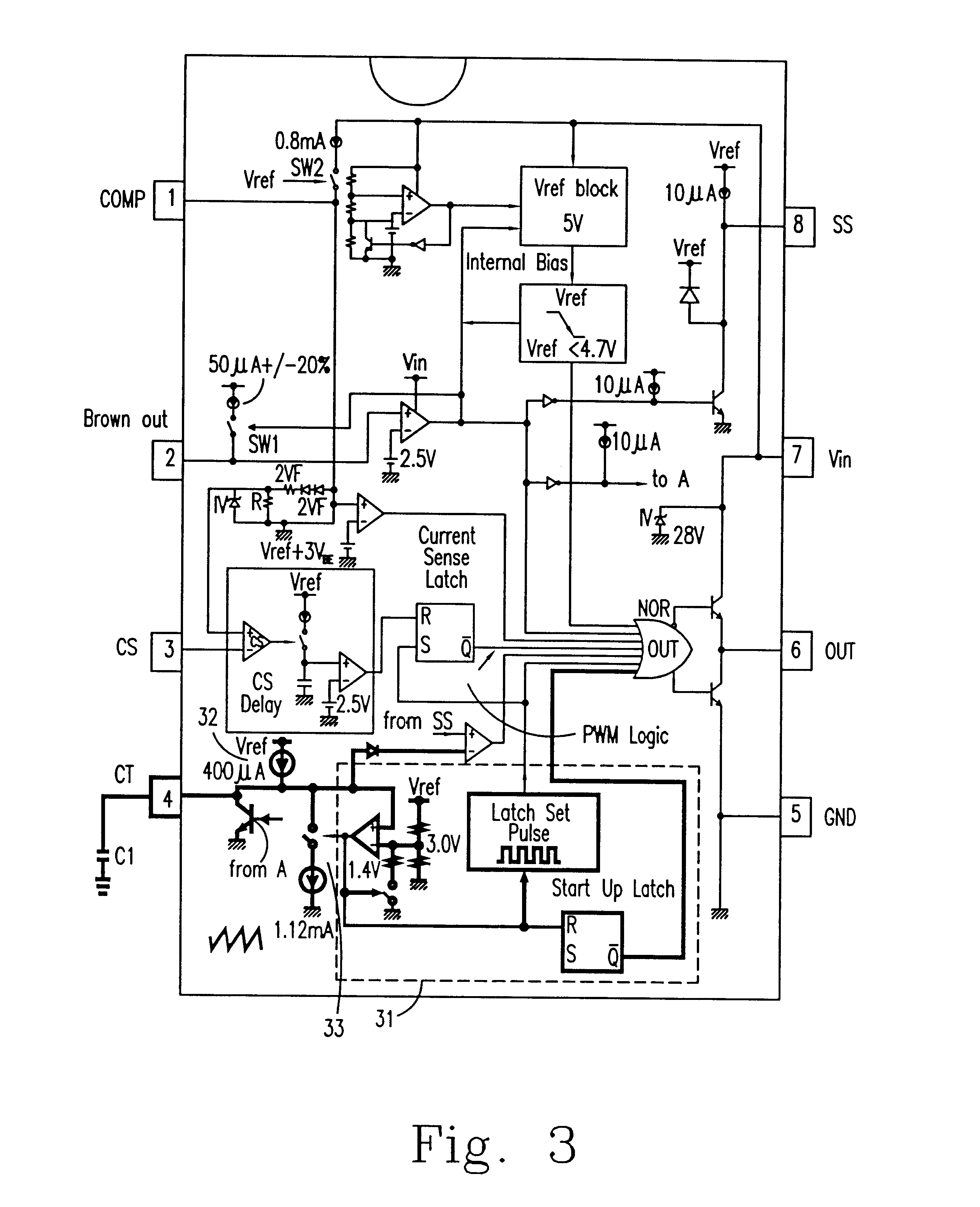 patent us6639483 - pulse width modulation integrated circuit chip