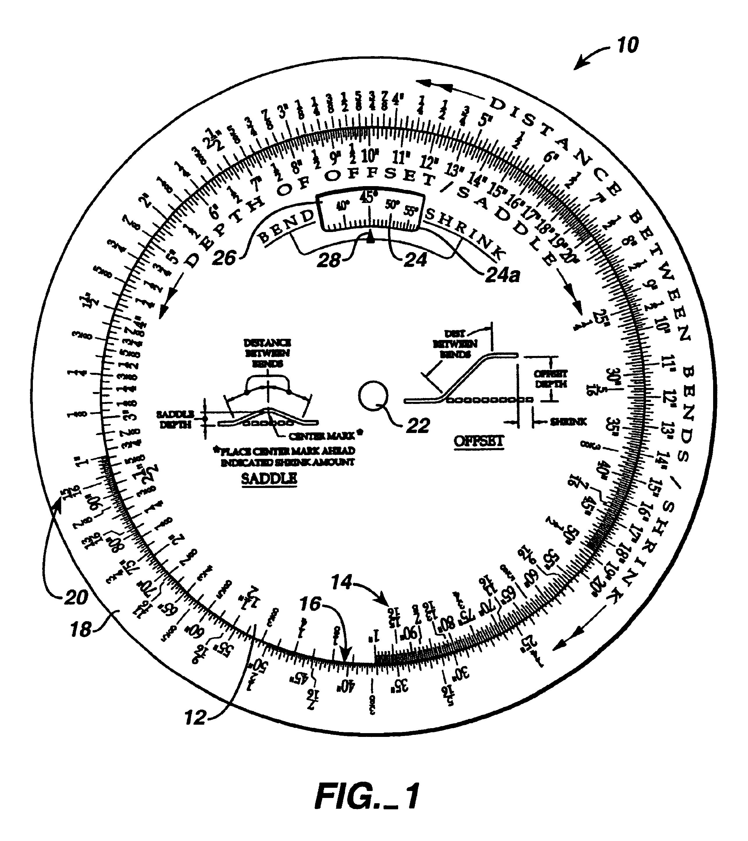 Patent US6648219 - Hand held pipe bending calculator - Google Patents