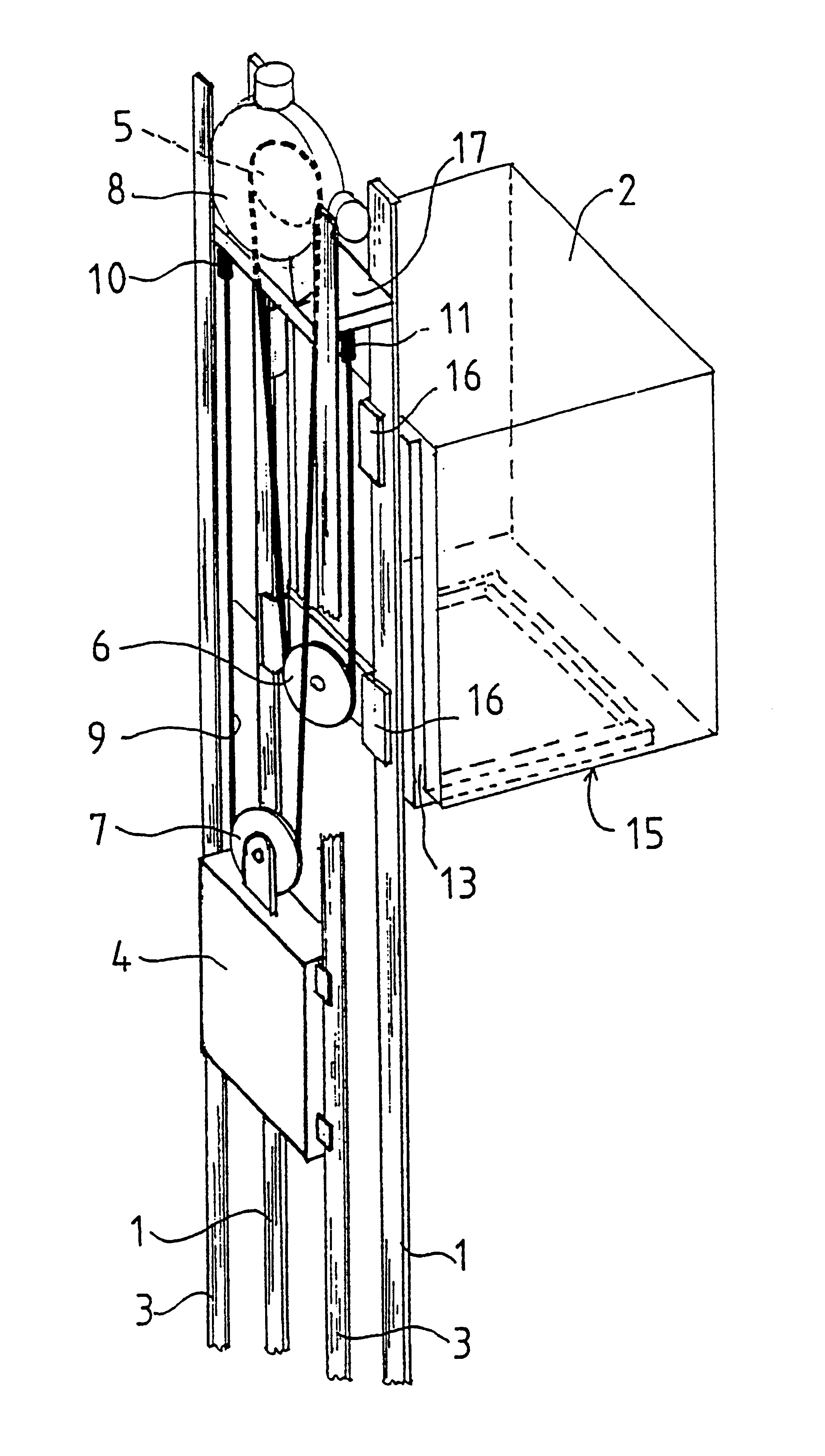 Rope And Pulley Elevator : Patent us traction sheave elevator google patents