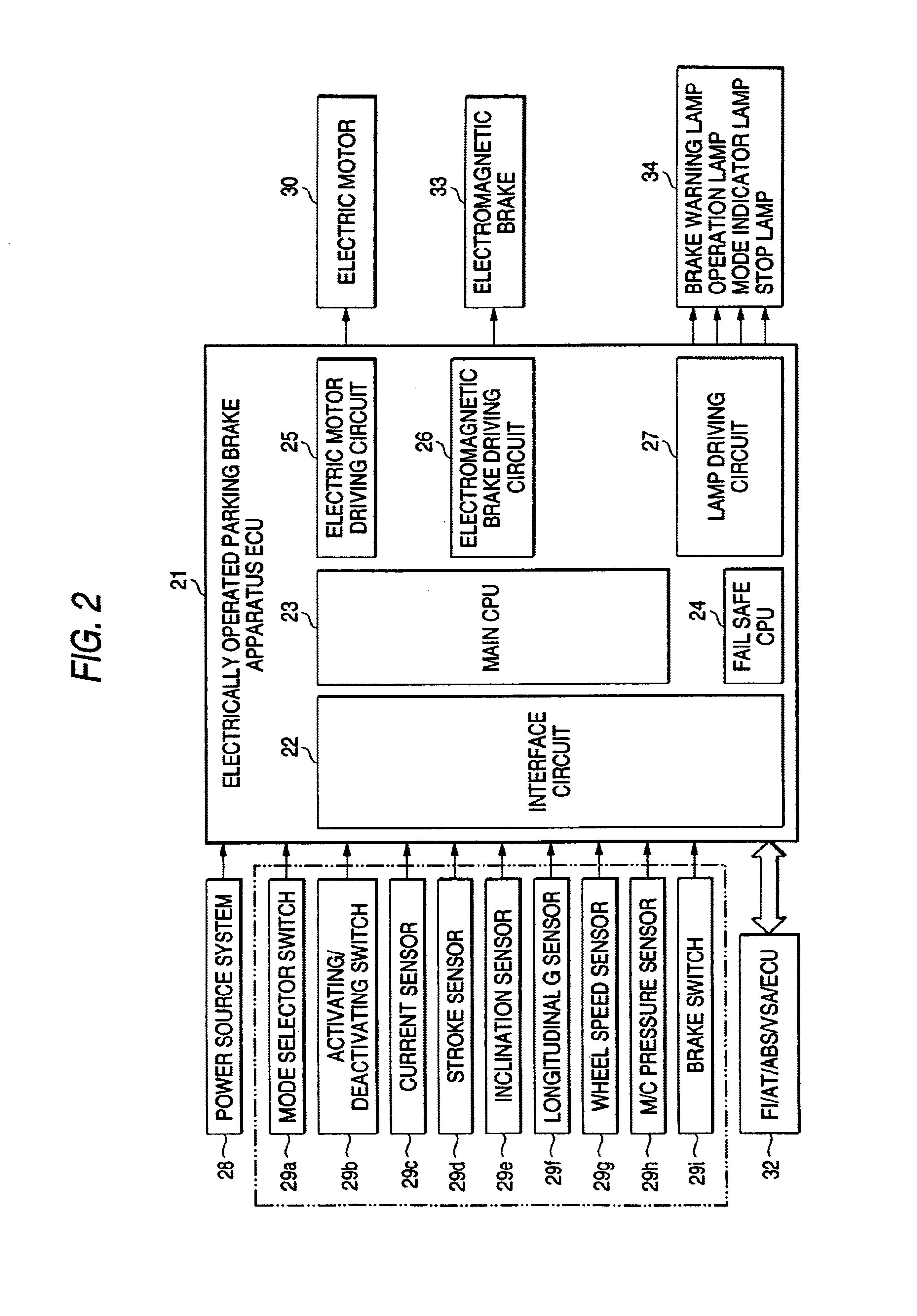 Patent Us6662909 Electrically Operated Parking Brake Apparatus Electric Motor Braking System Circuit Diagram Drawing